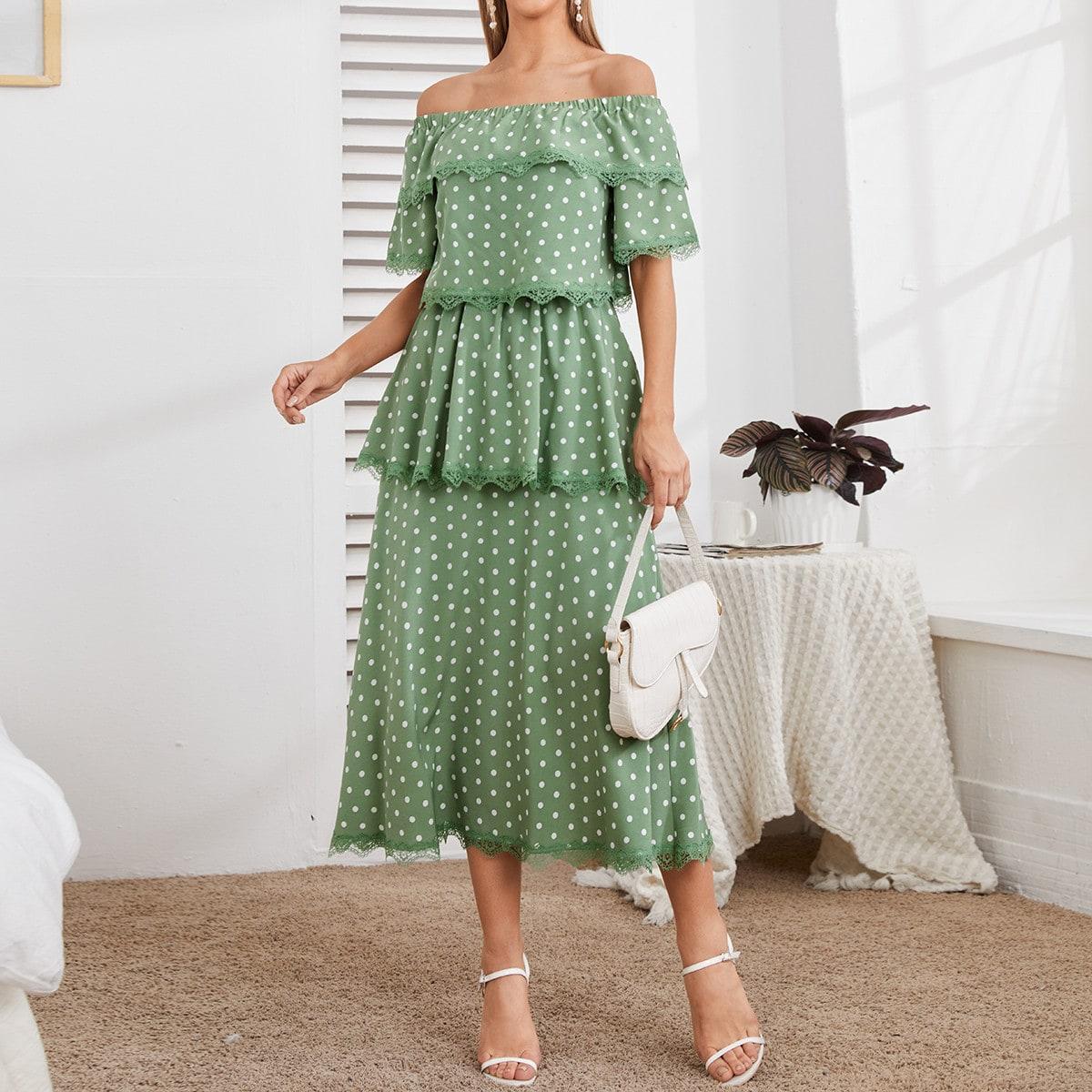 Контрастные кружева В горошек Элегантный Платье