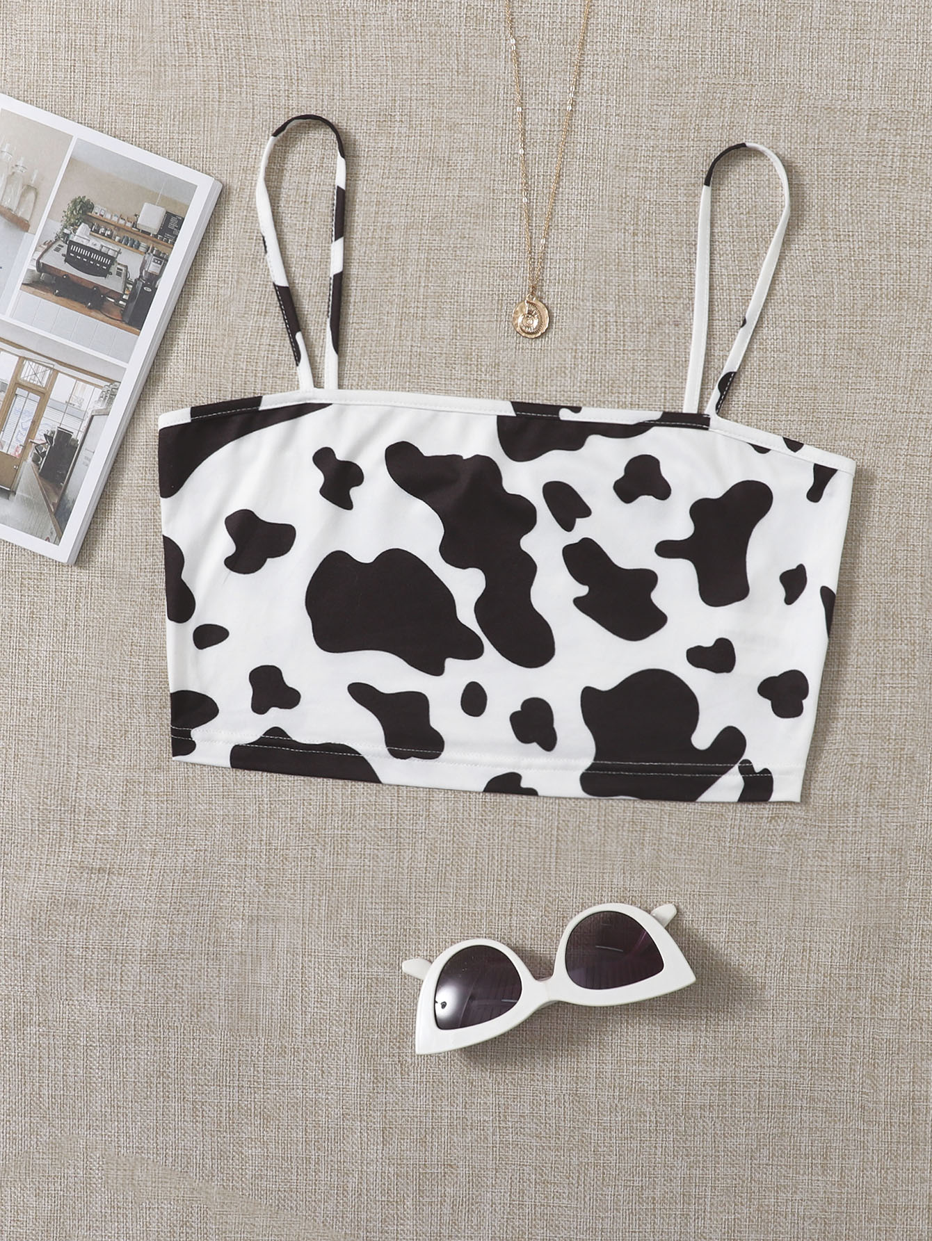 Cow Print Cami Crop Top thumbnail
