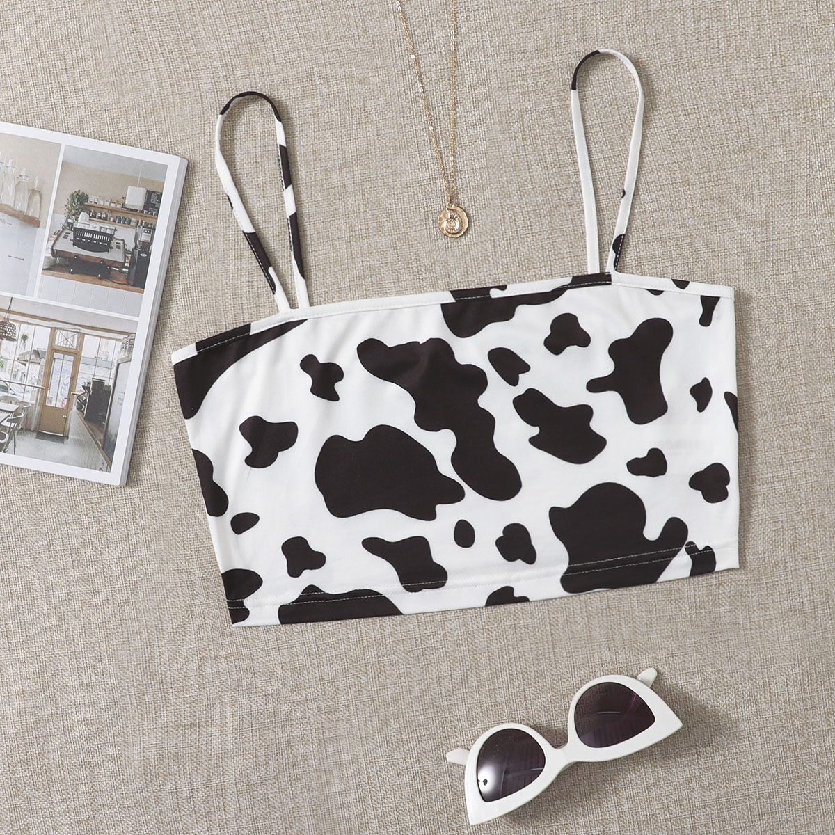 Cow Print Cami Crop Top, SHEIN  - buy with discount