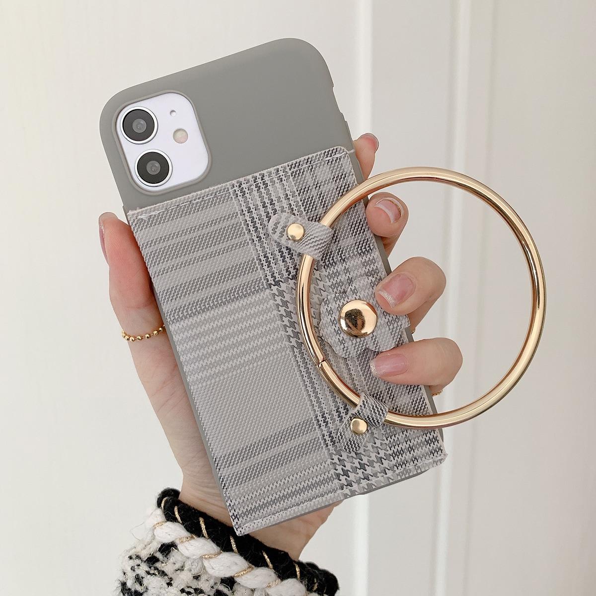 Custodia iPhone con anello e porta carta