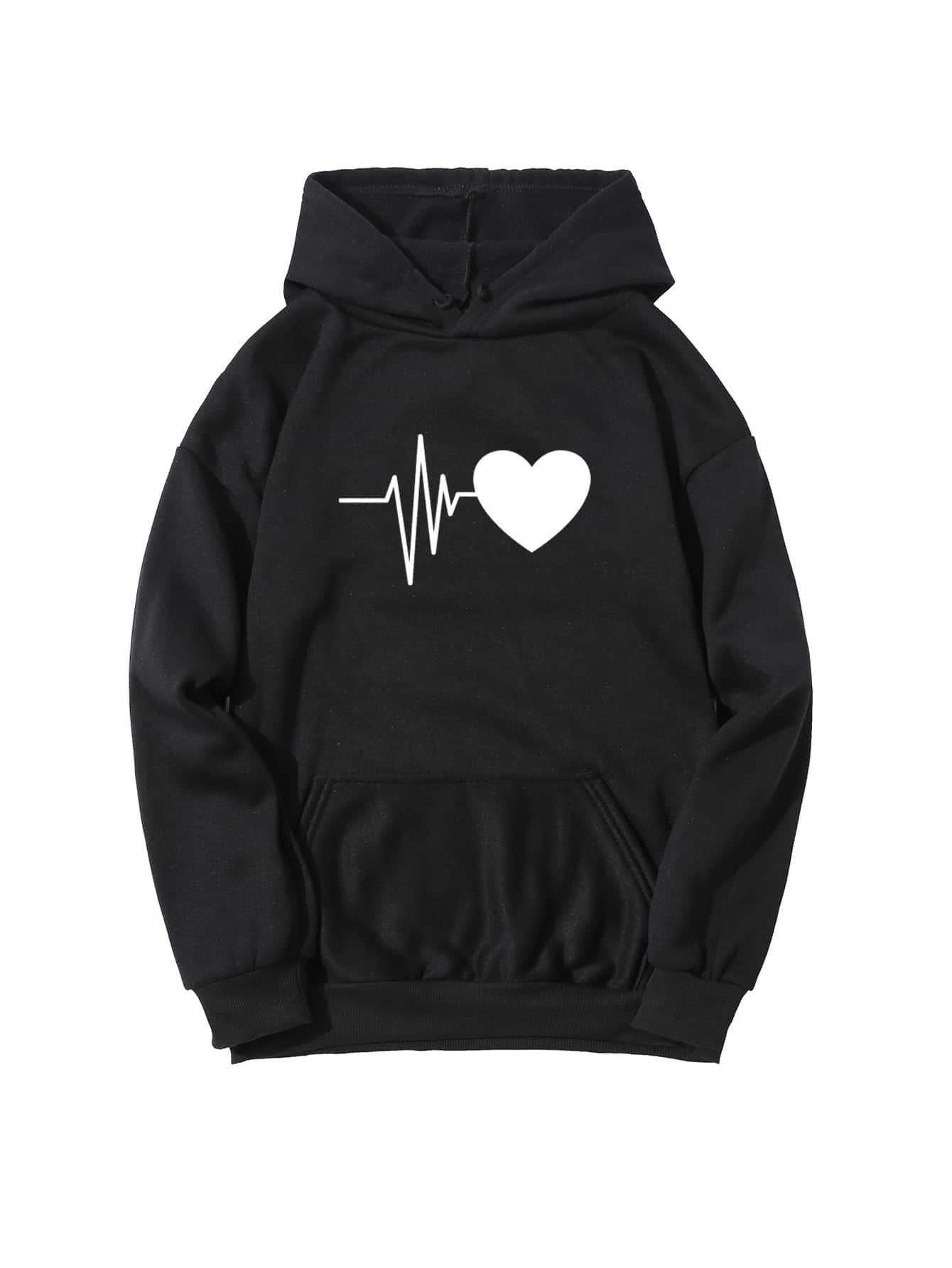Heart Print Drawstring Hoodie thumbnail