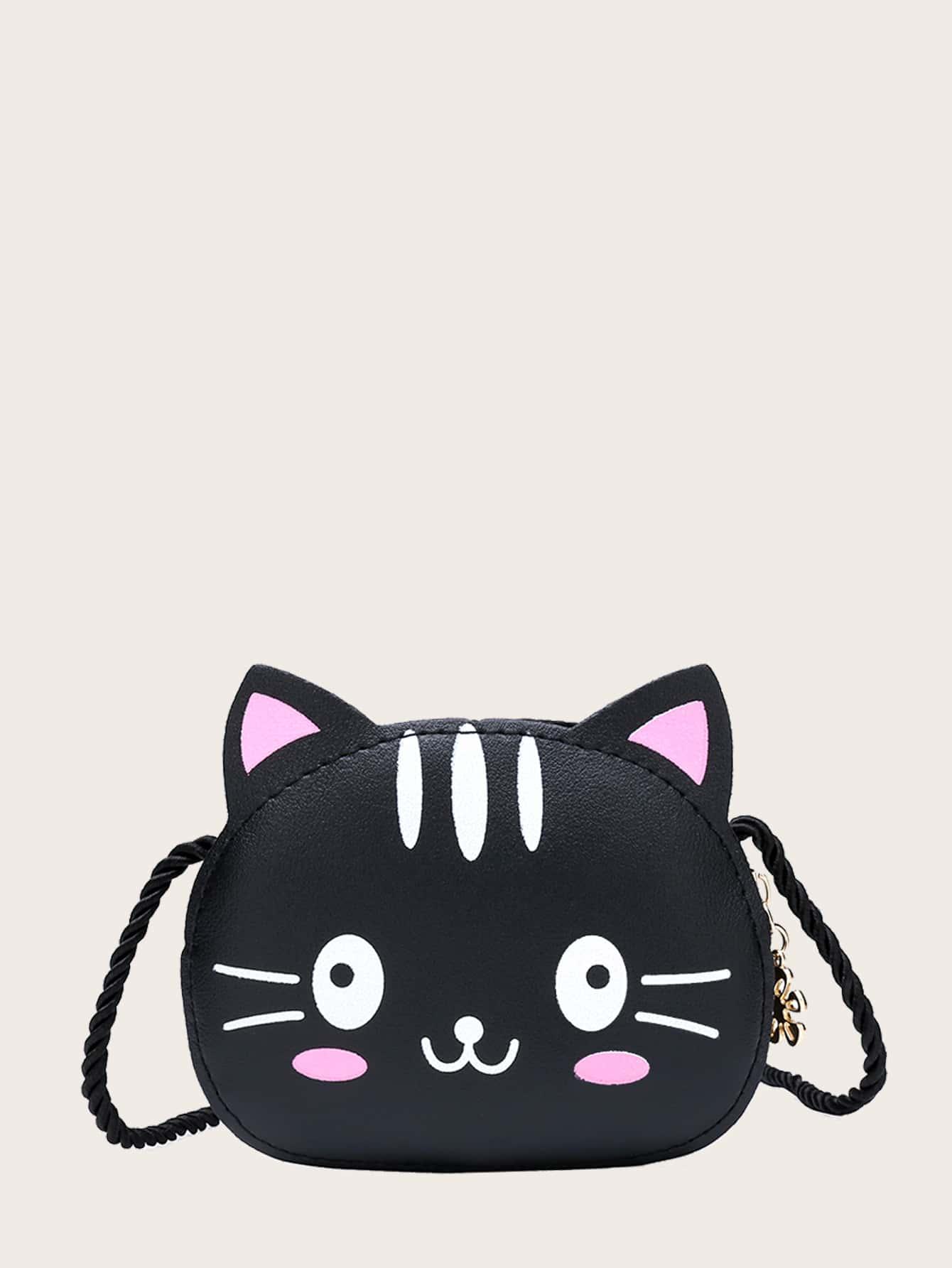 girls cartoon cat design crossbody bag