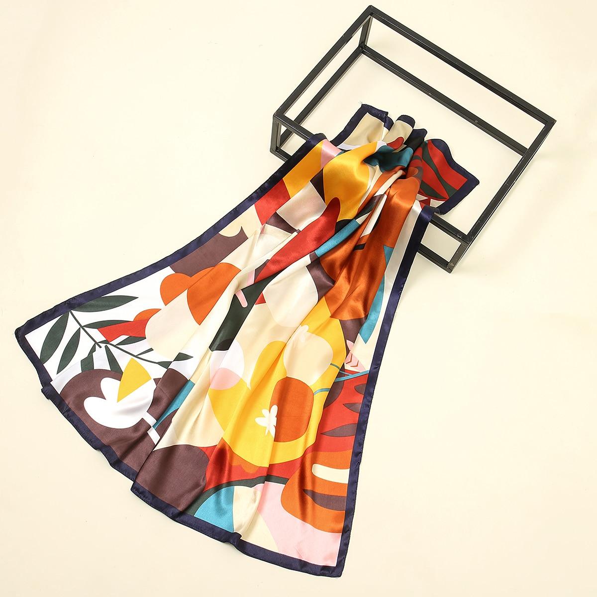 SHEIN / Leaf Print Colorblock Bandana