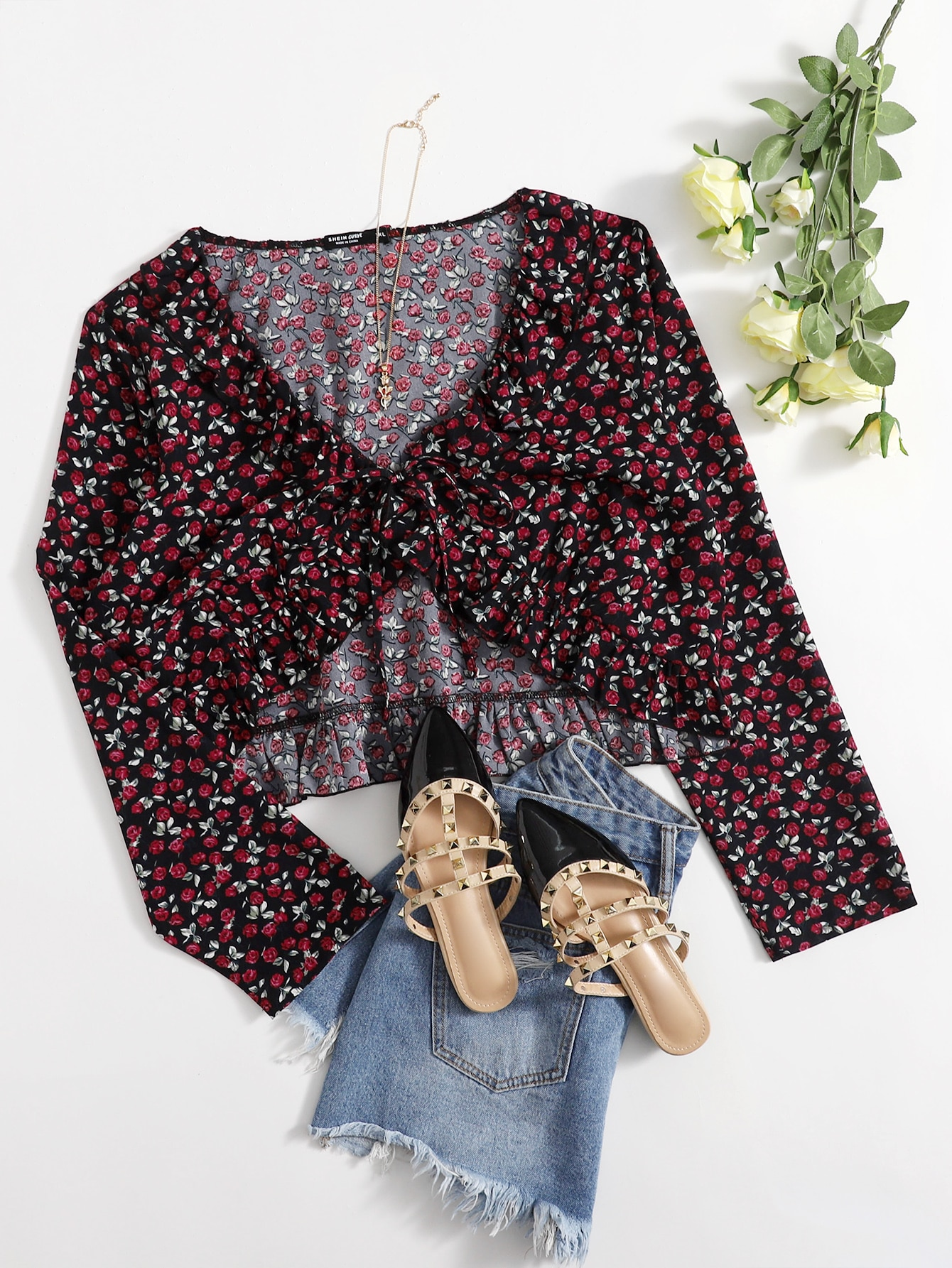 Plus Ditsy Floral Ruffle Hem Knot Front Crop Top