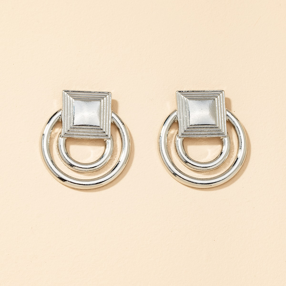 Square Decor Round Design Stud Earrings, SHEIN  - buy with discount