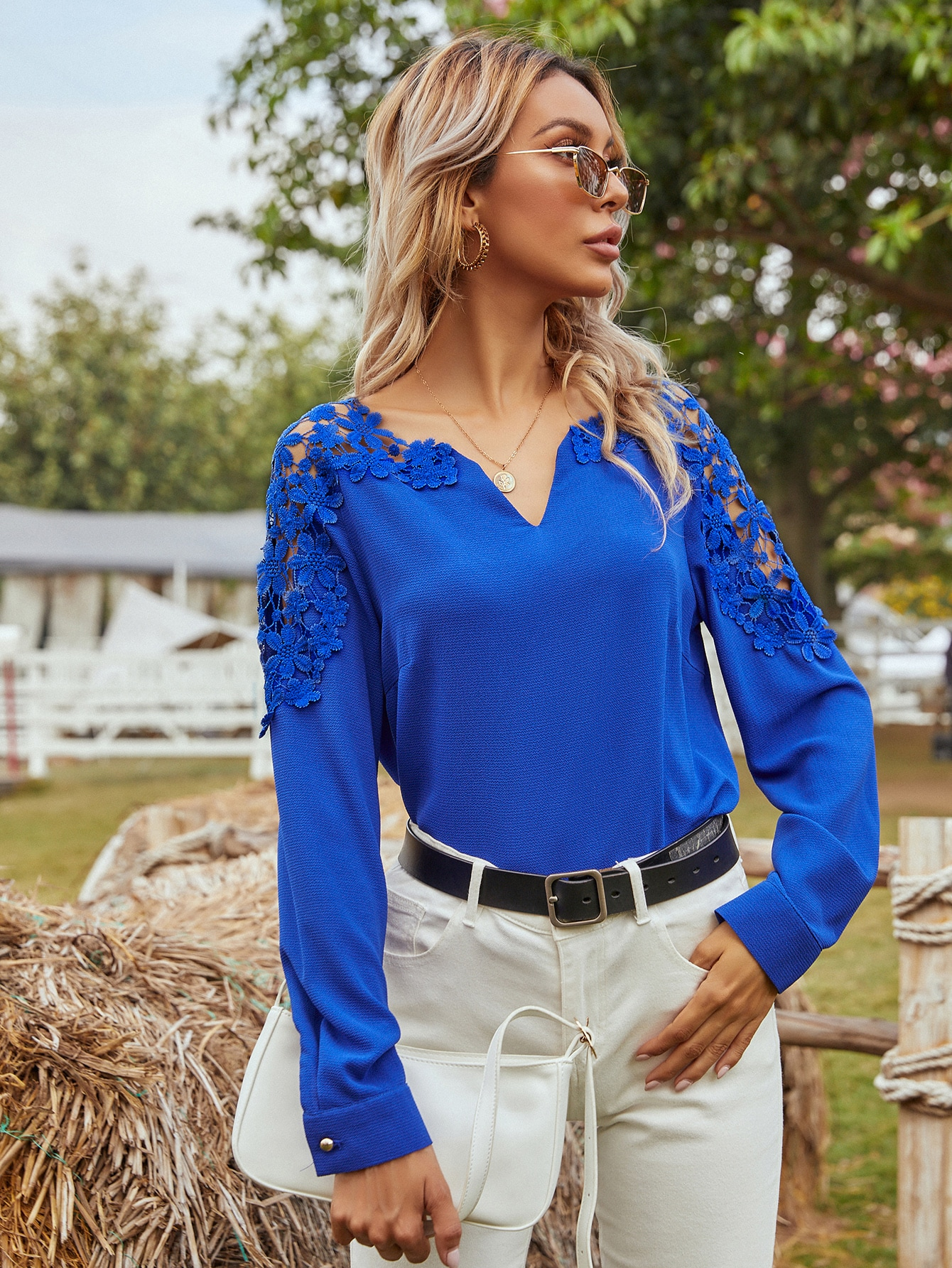 Contrast Lace Notch Neck Blouse thumbnail
