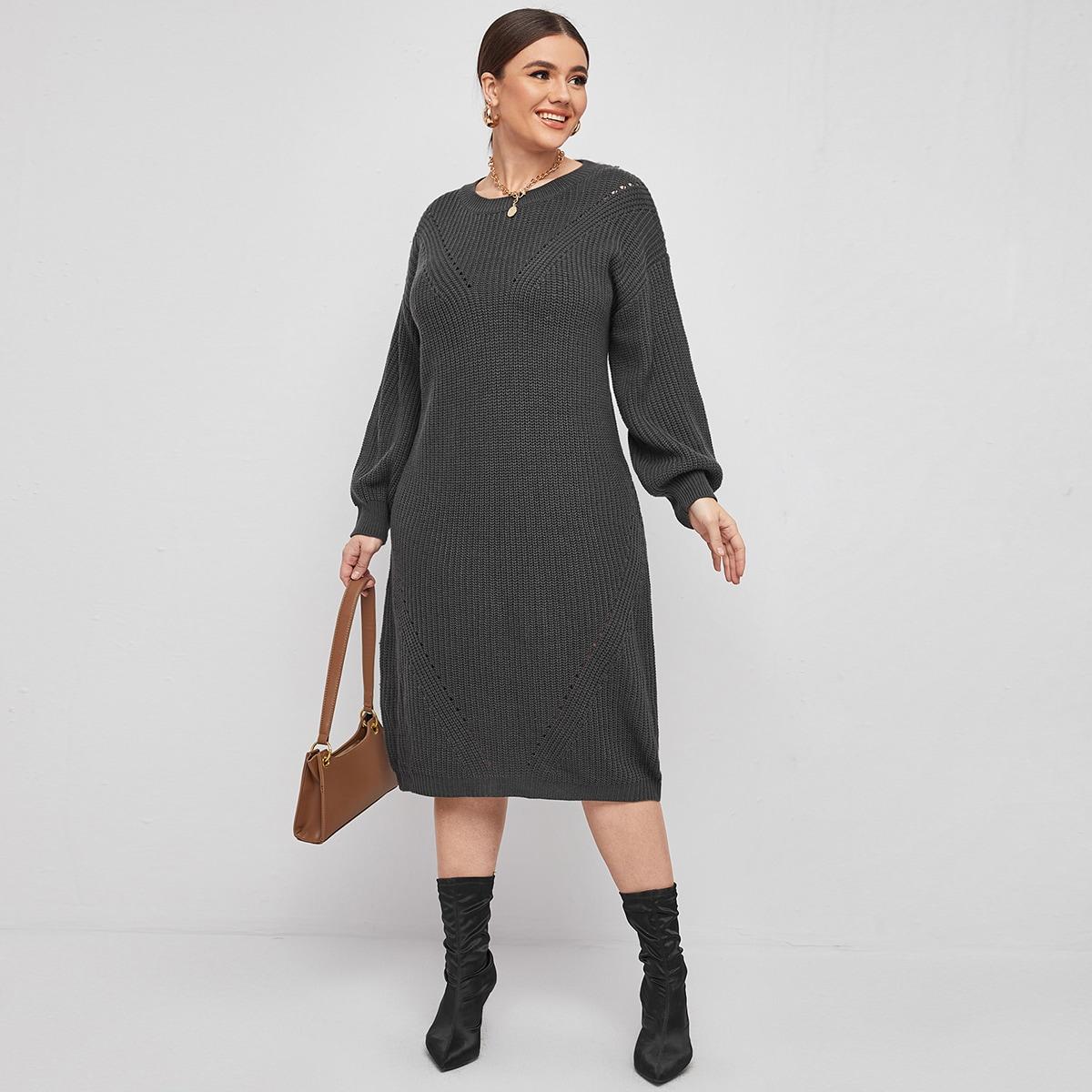 Одноцветный Элегантный Свитер-платье размер плюс