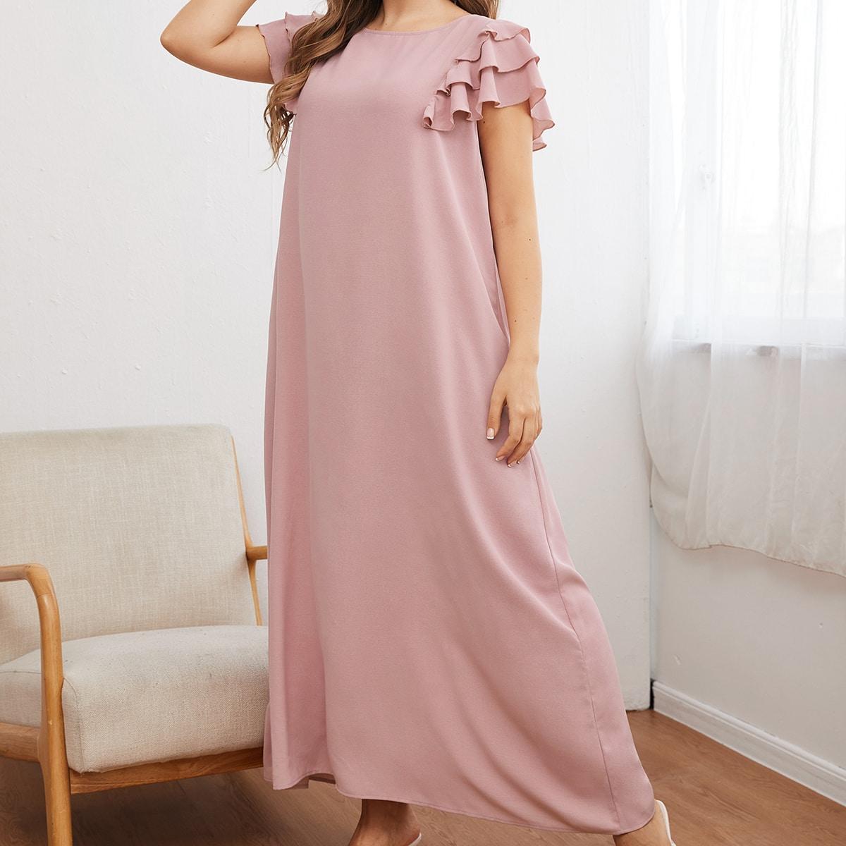 Многослойный Одноцветный Скромный Платья размер плюс