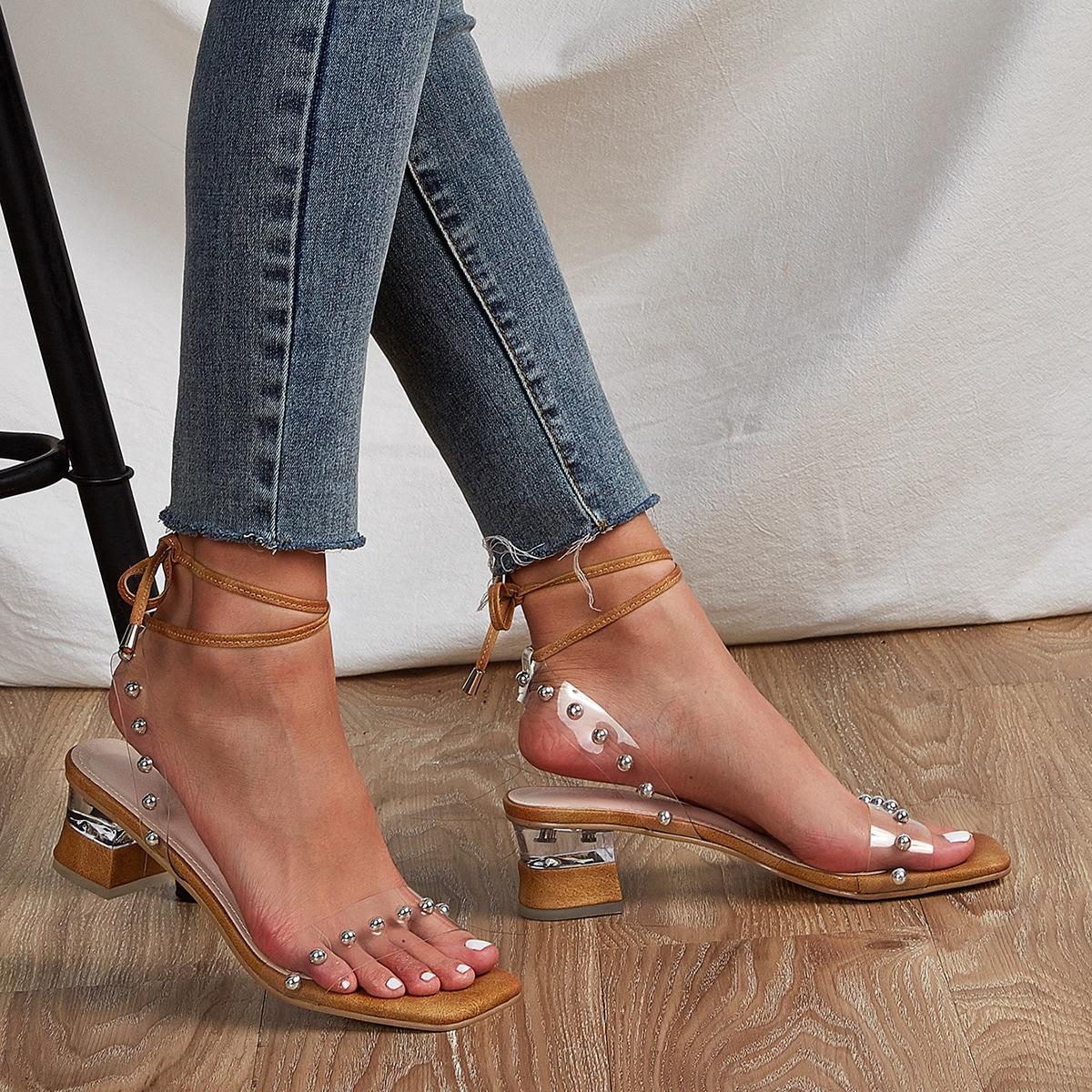 на шнурках с заклепками Одноцветный Стиль панк Сандалии/босоножки