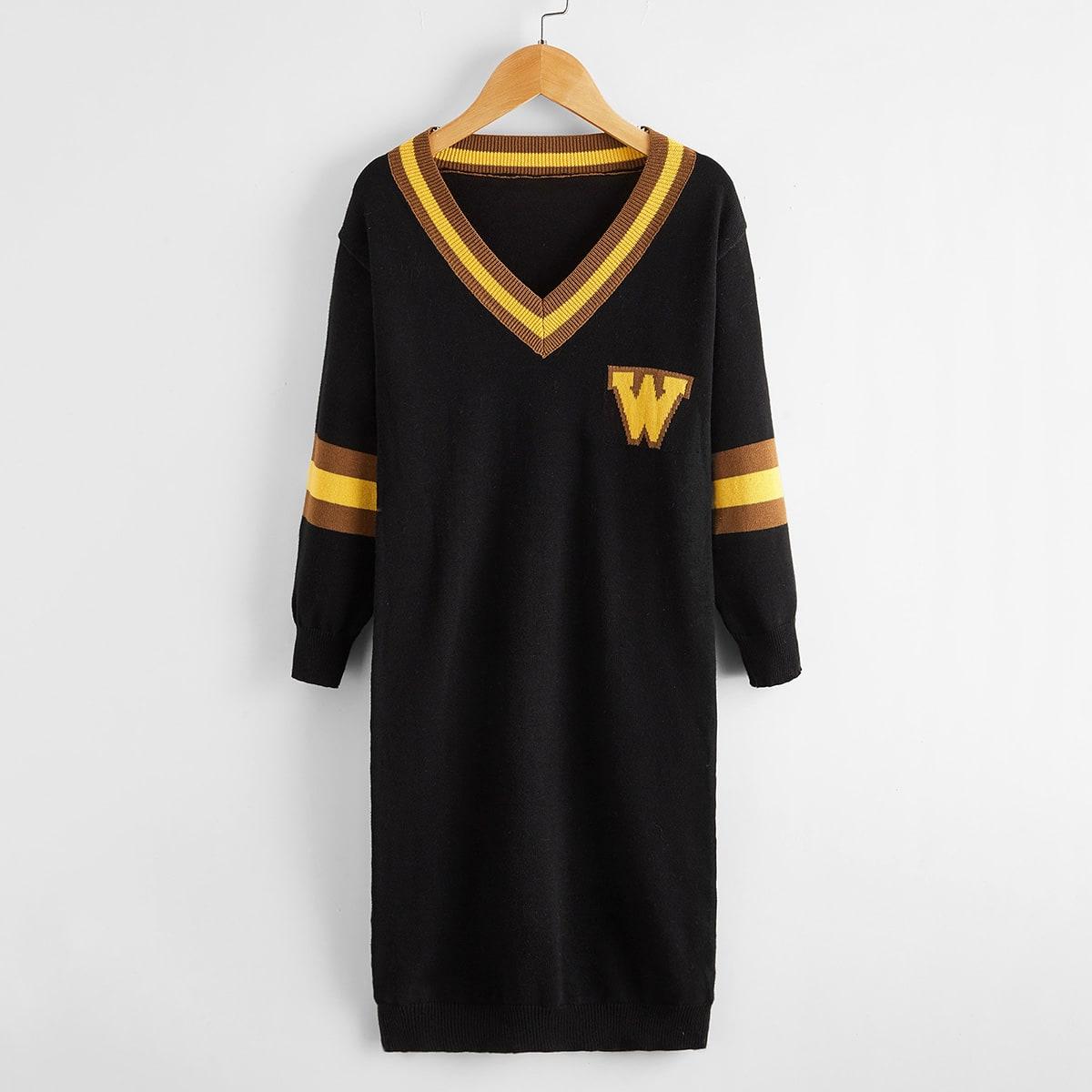 Полосатый институтский трикотажные платья для девочек