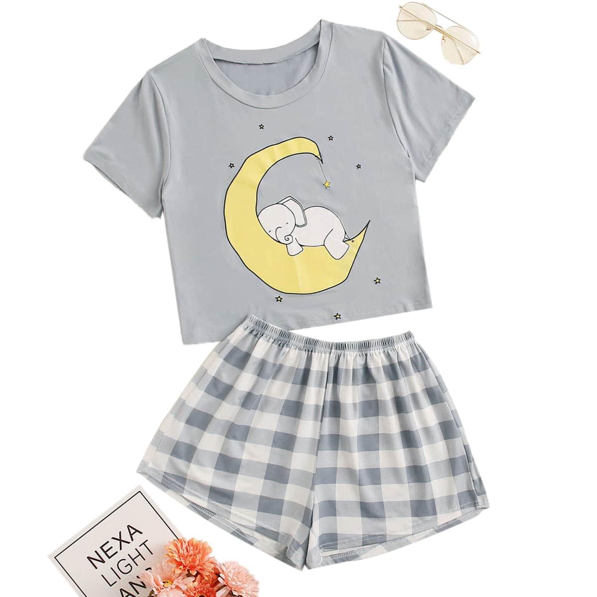 shein Schattig Carré Grote maten pyjama sets
