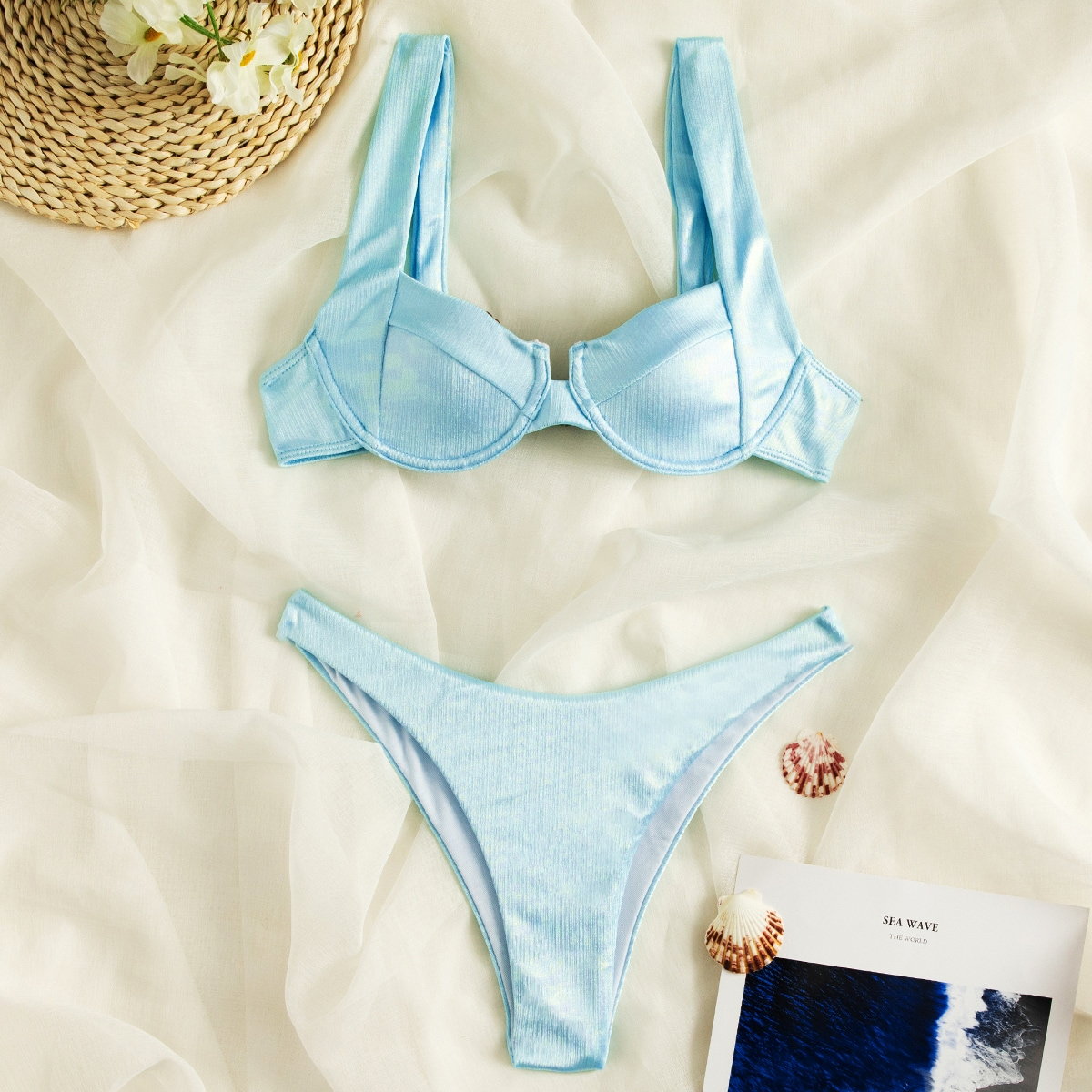 Push Up Underwire Bikini Swimsuit, SHEIN  - buy with discount