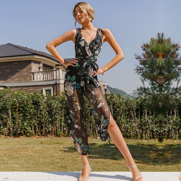 Ruffle Trim Surplice Neck Belted Split Thigh Floral Jumpsuit, Black