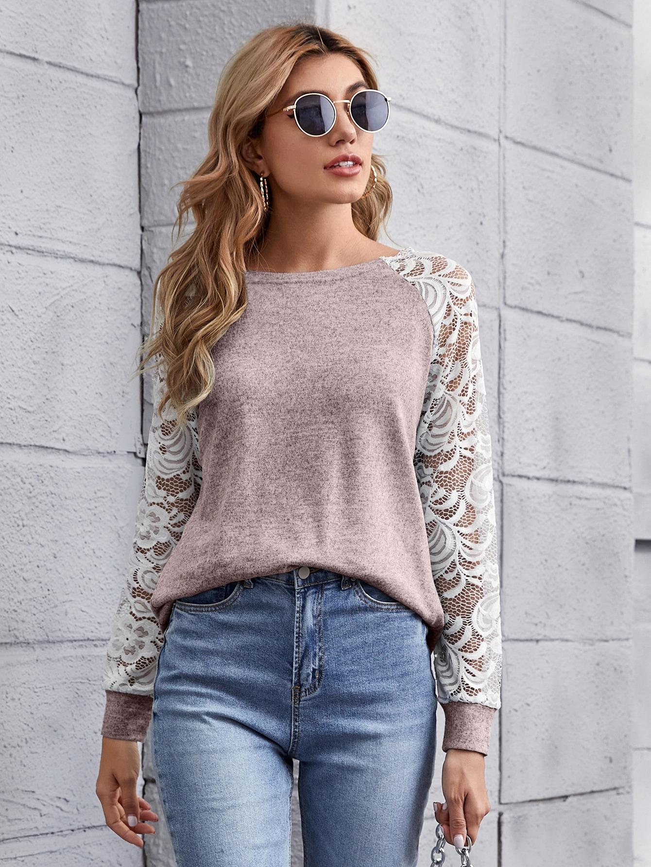 Sheer Lace Raglan Sleeve Colorblock Tee thumbnail