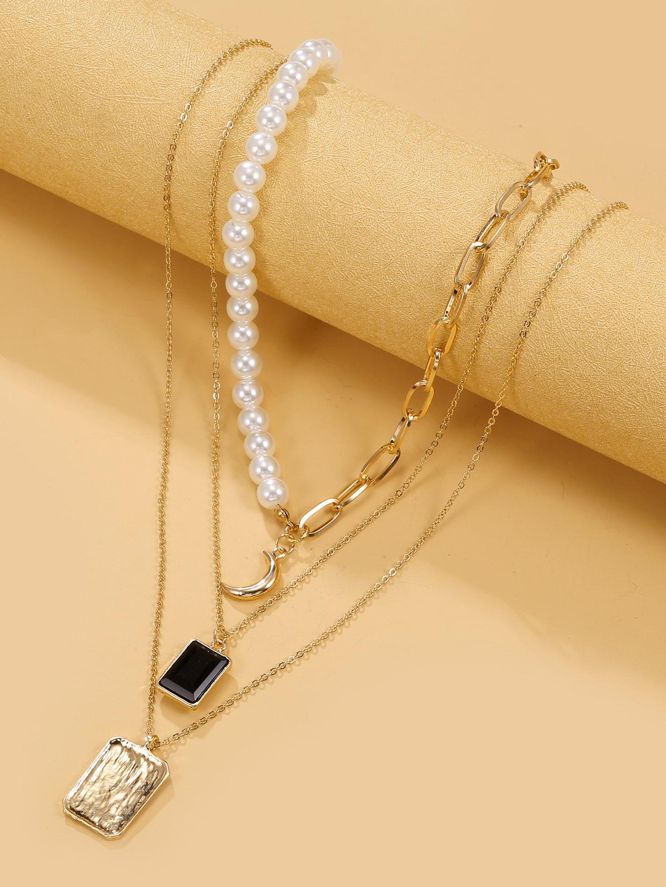 Многослойное ожерелье с искусственными жемчугамиswneck18201222259