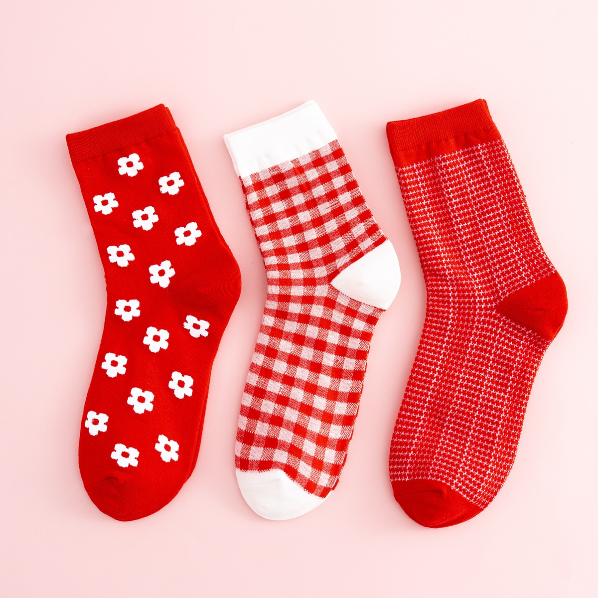 3pairs Flower Print Crew Socks, SHEIN  - buy with discount
