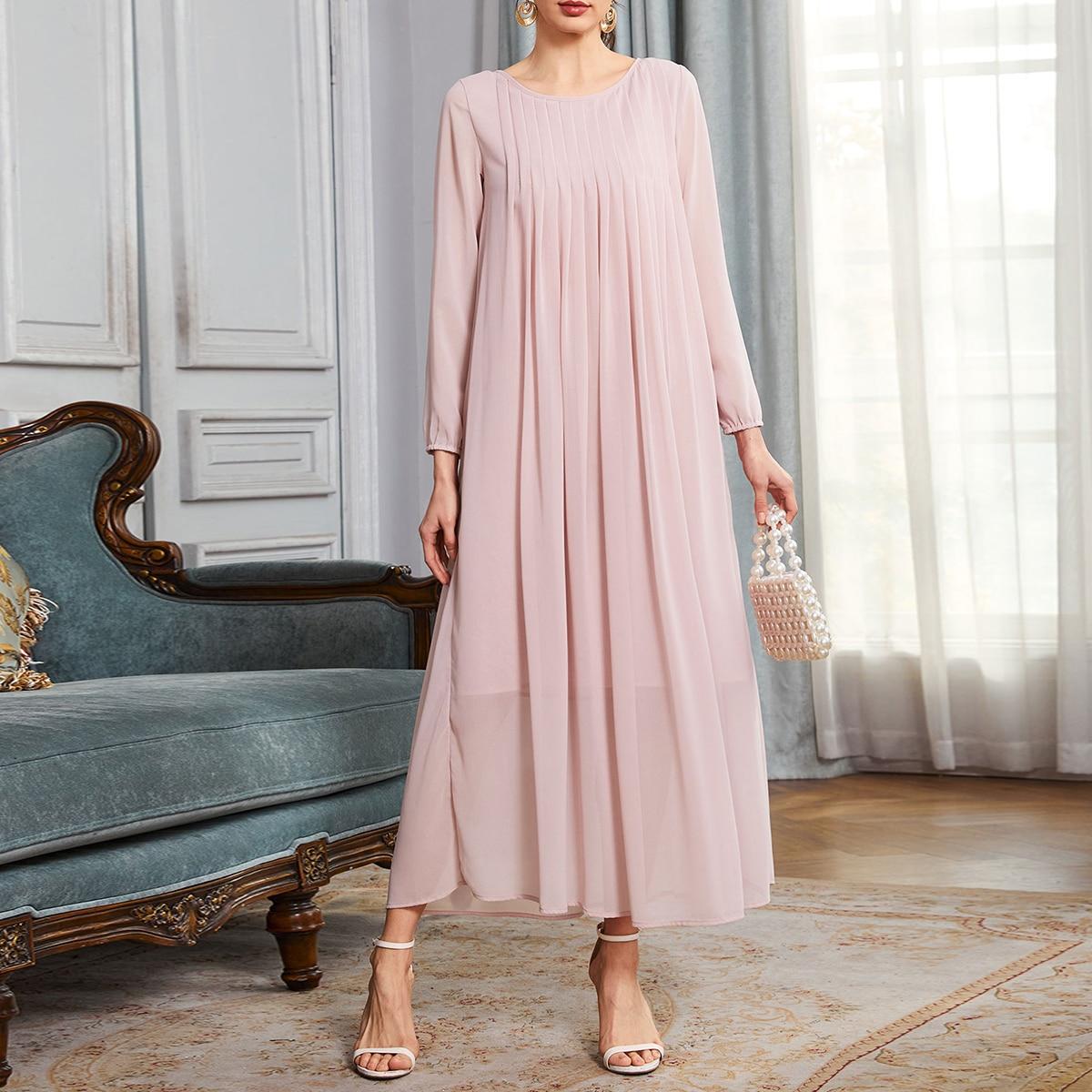 плиссированное Одноцветный Повседневный Платье