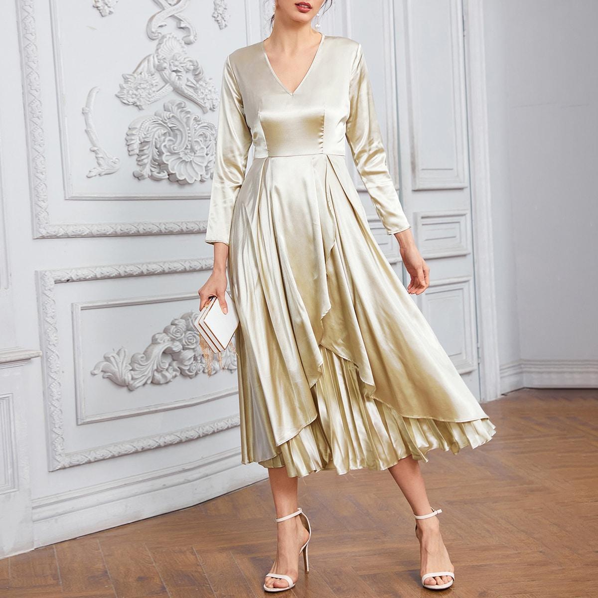 плиссированное Одноцветный Элегантный Платье