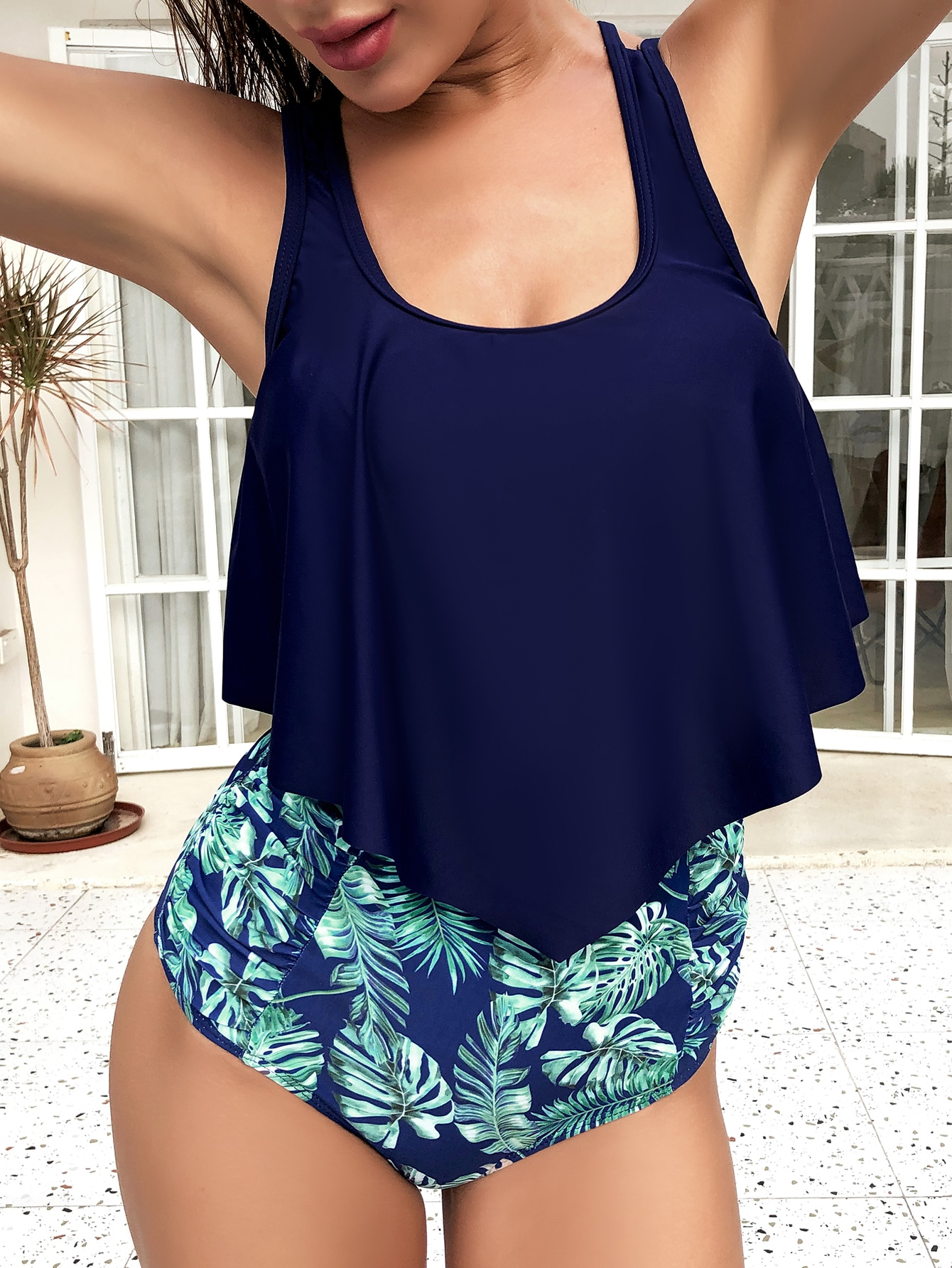 Tropical Hanky Hem High Waisted Bikini Swimsuit thumbnail