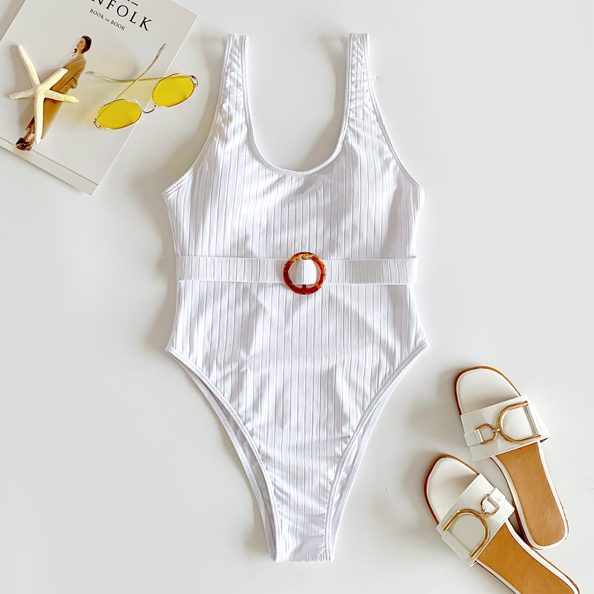 Rib Ring Detail One Piece Swimsuit, SHEIN  - buy with discount