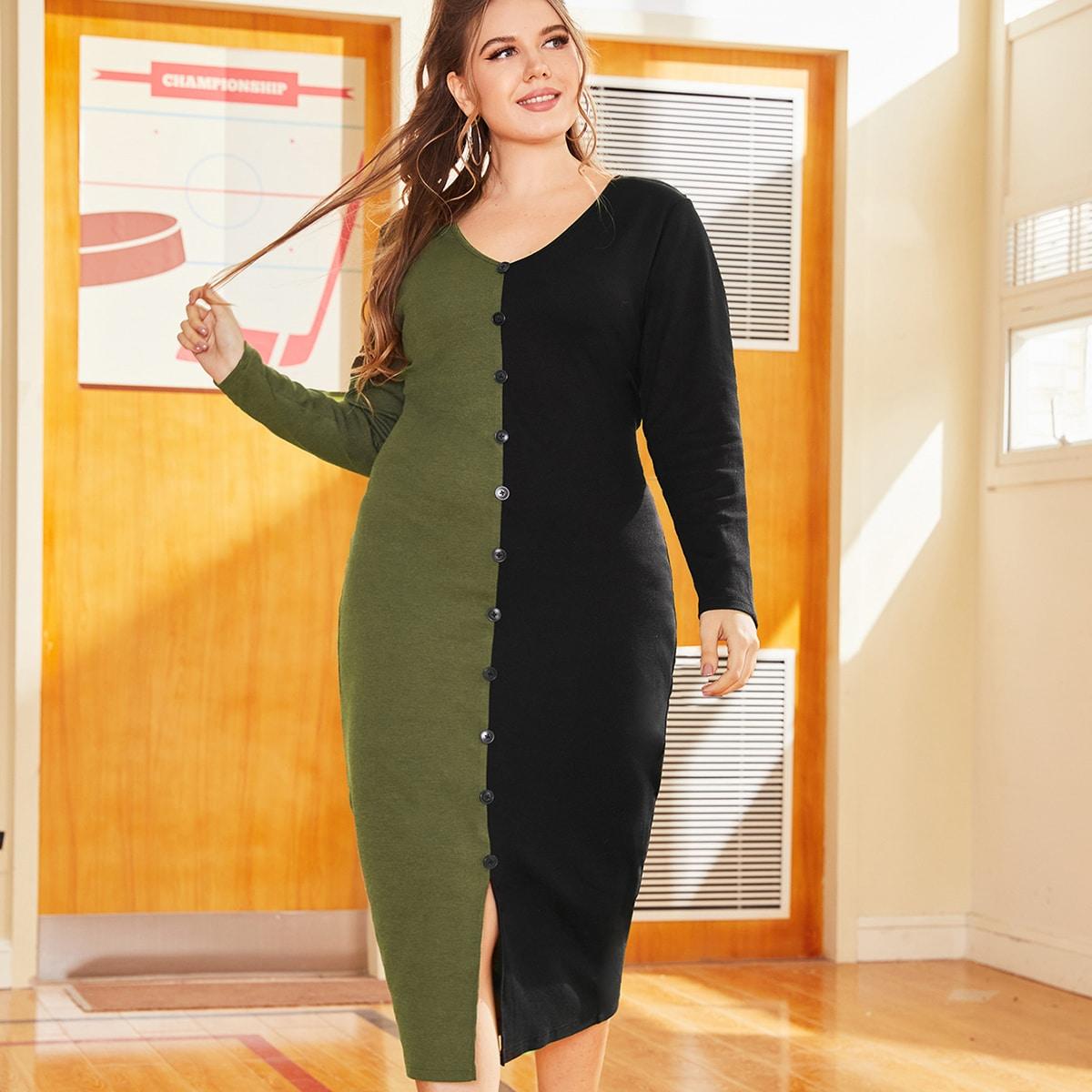 Разрез Контрастный цвет Повседневный Платья размер плюс