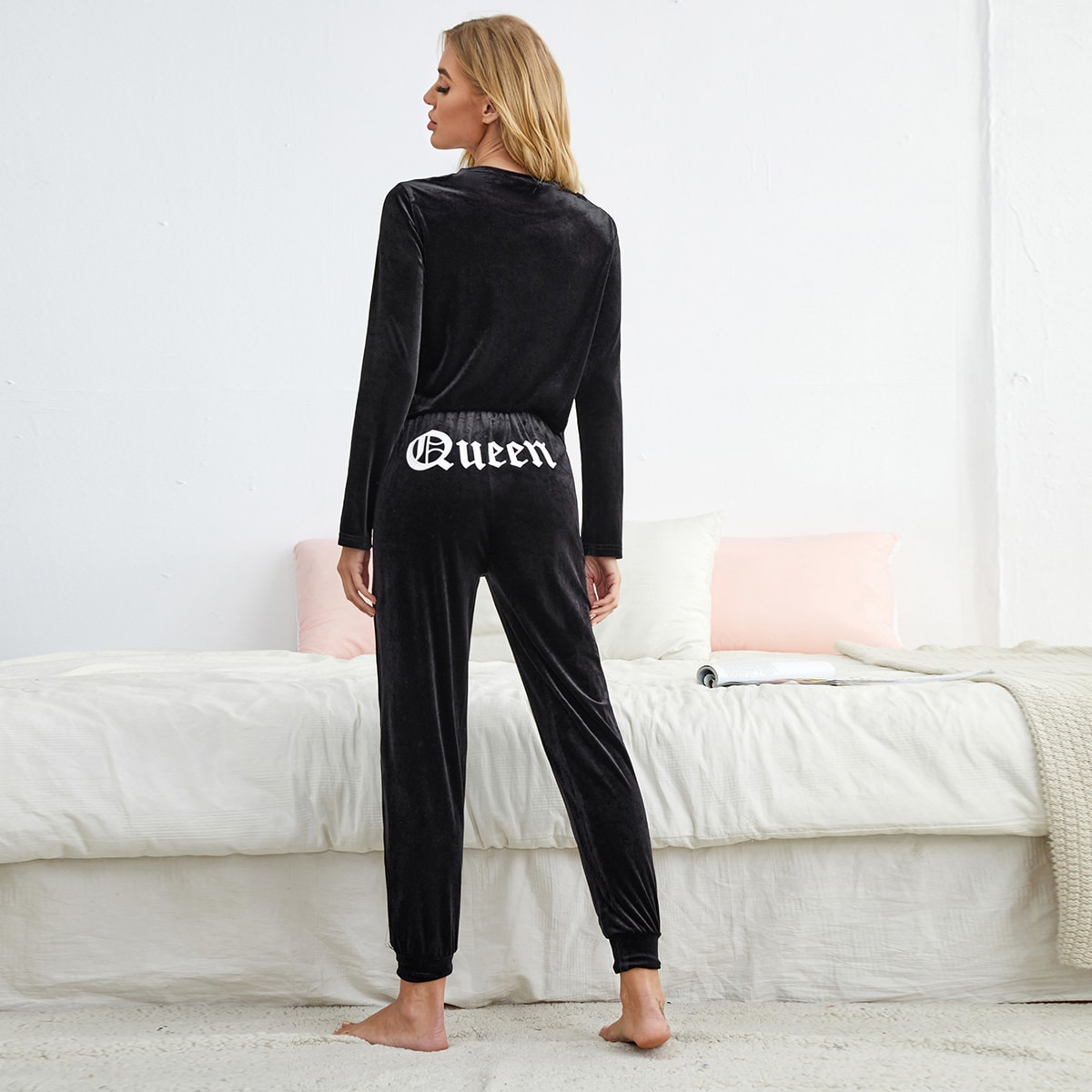 Velvet Letter Graphic Lounge Set, SHEIN  - buy with discount