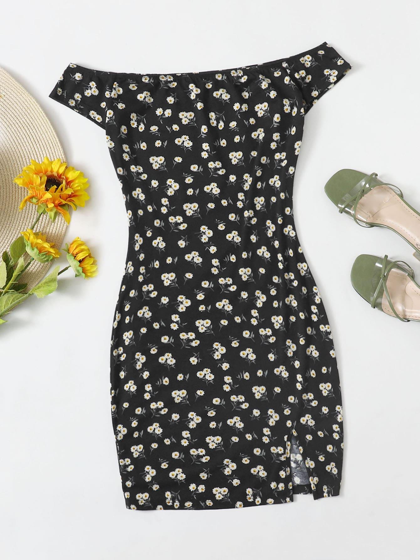 Off Shoulder Split Hem Ditsy Floral Dress thumbnail