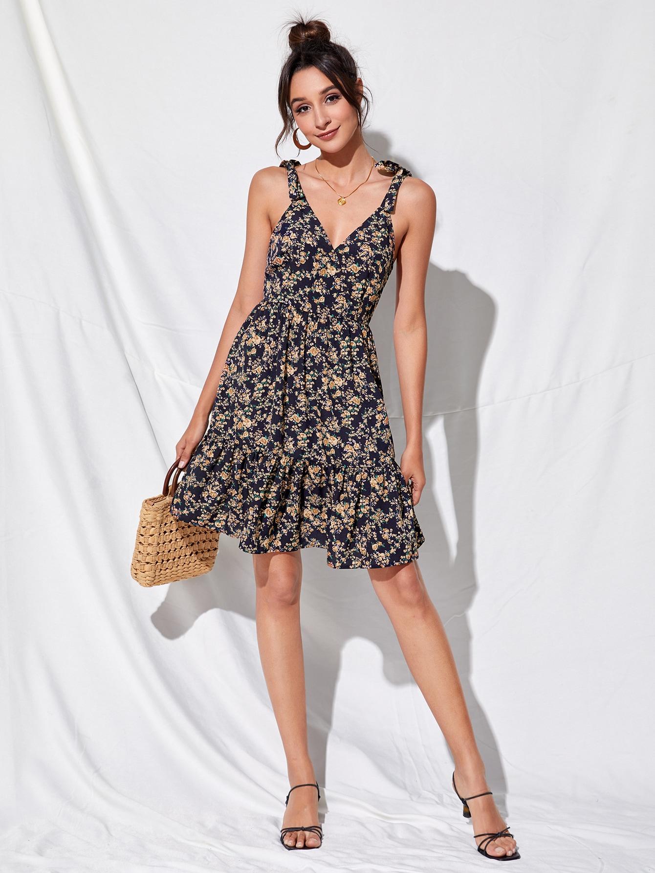 Ruffle Trim Ditsy Floral Cami Dress thumbnail