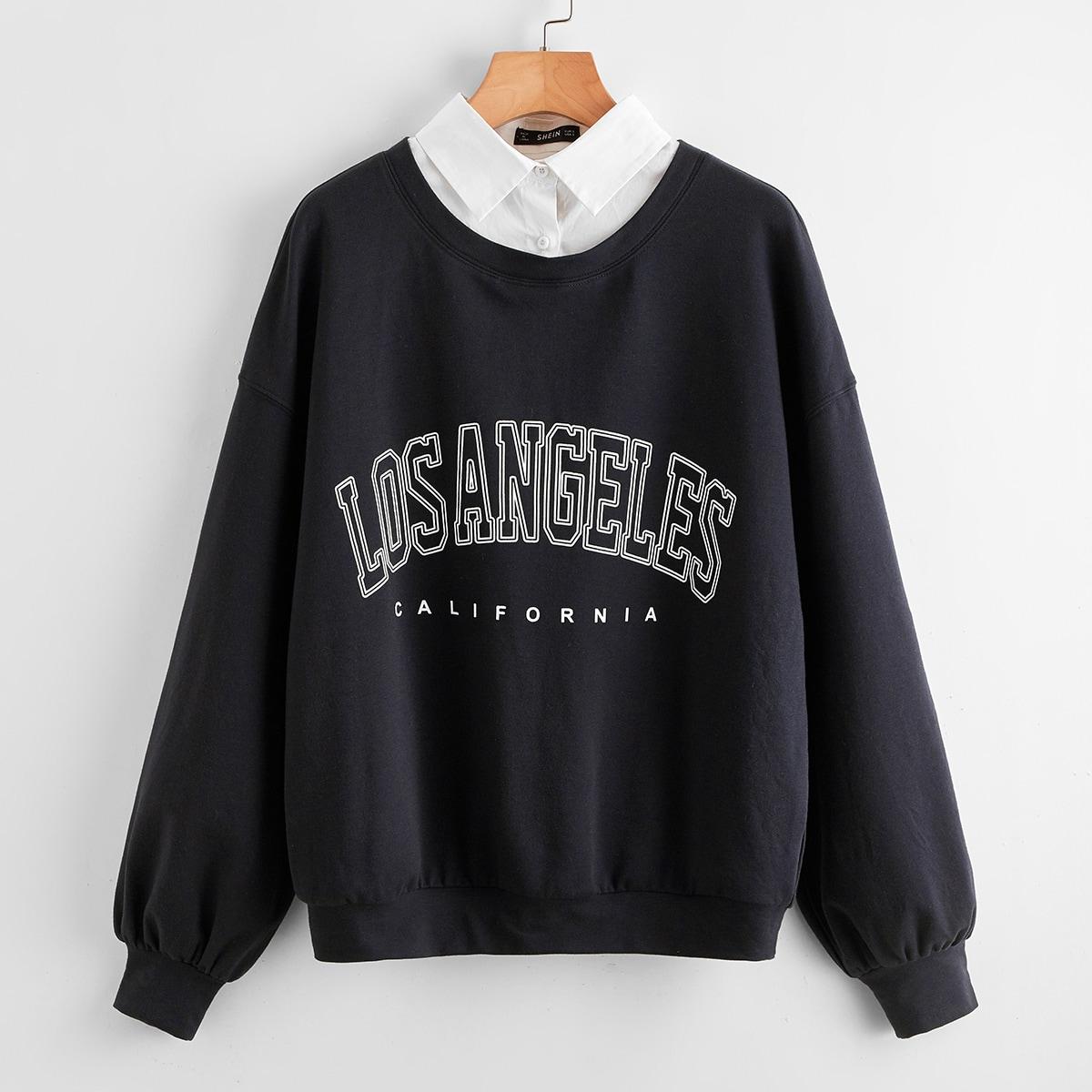 Пуловер с текстовым принтом и воротником 2 в 1
