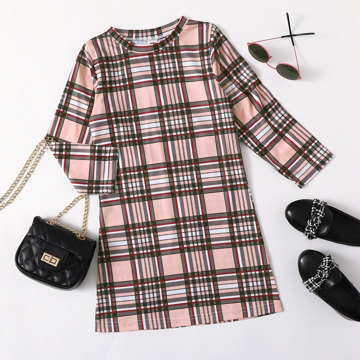 Toddler Girls Plaid Tee Dress, SHEIN  - buy with discount