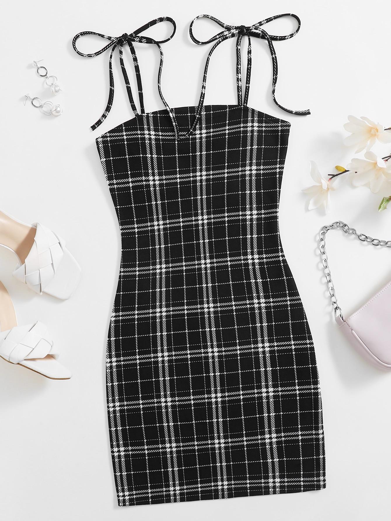 Knot Shoulder Plaid Dress thumbnail