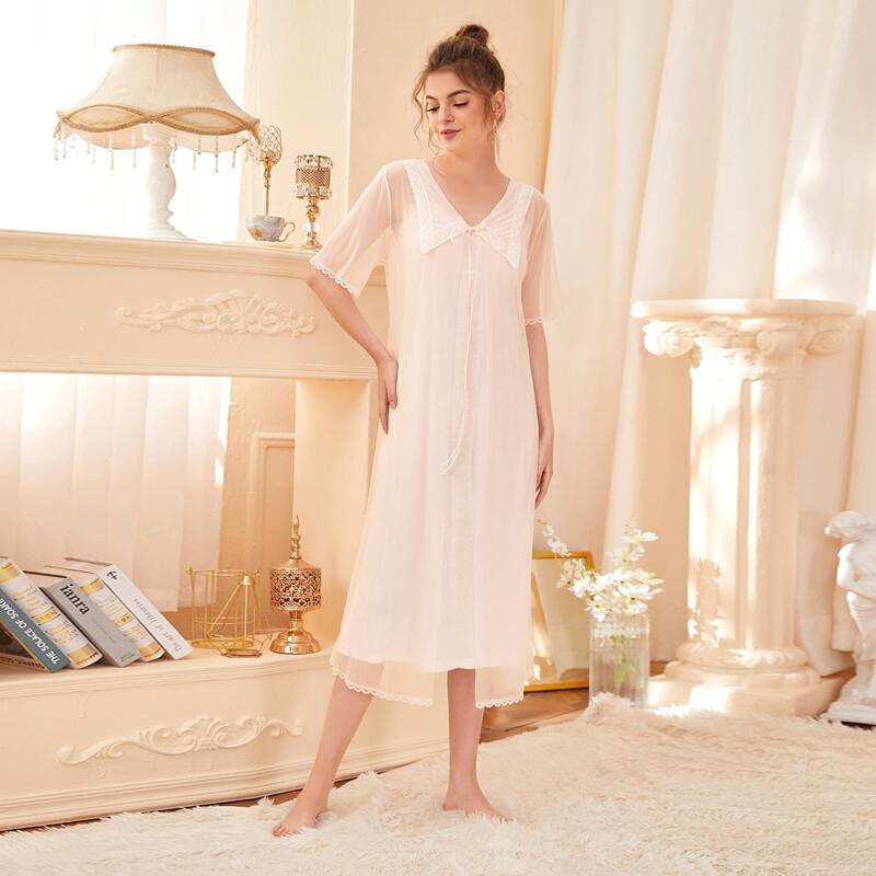 Contrast Lace Cami Nightdress With Mesh Robe, Pastel baby pink