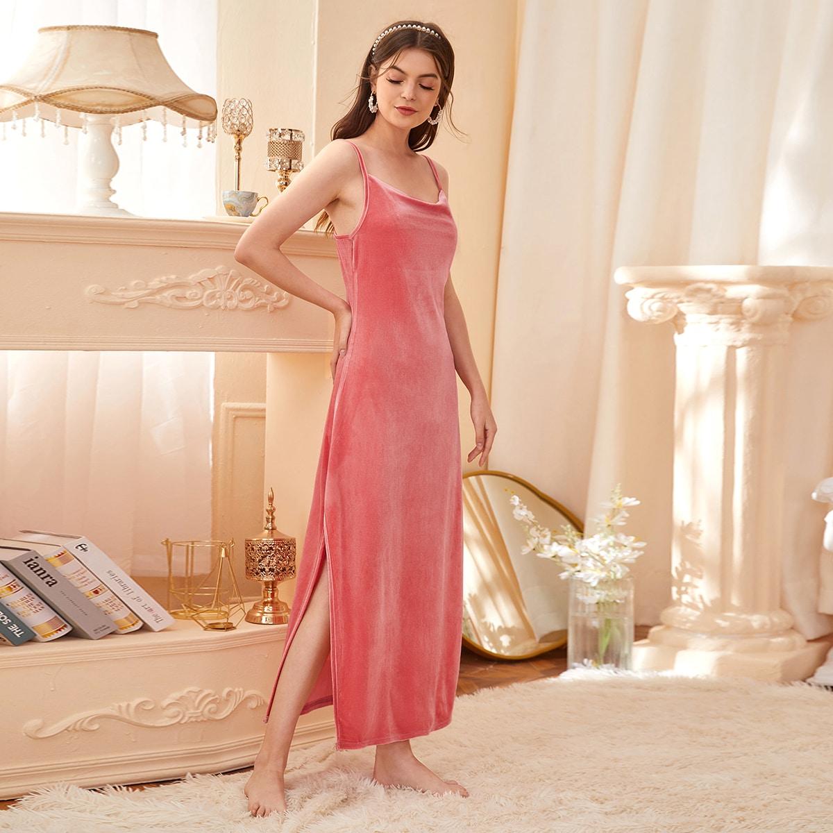 Высокий разрез Одноцветный Королевский Домашнее платье