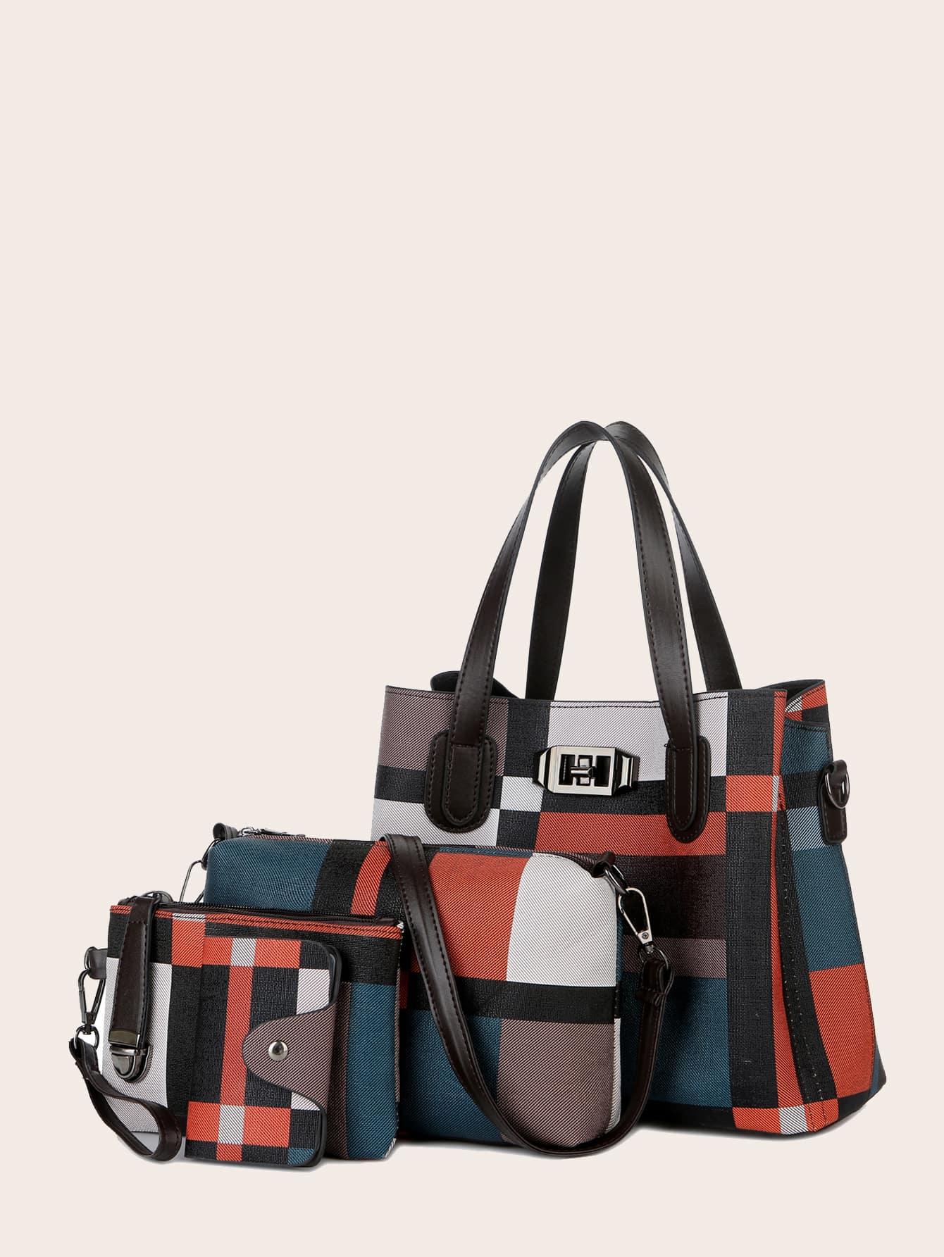 4pcs Turn-Lock Color Block Tote Bag Set thumbnail