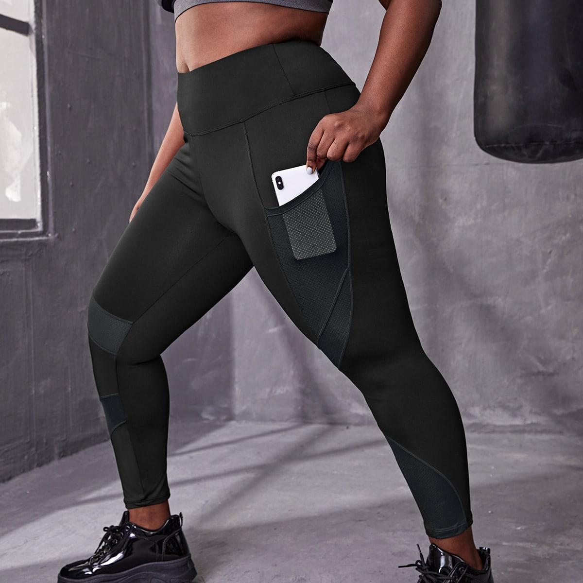 Простые спортивные леггинсы большого размера с карманом для мобильного телефона
