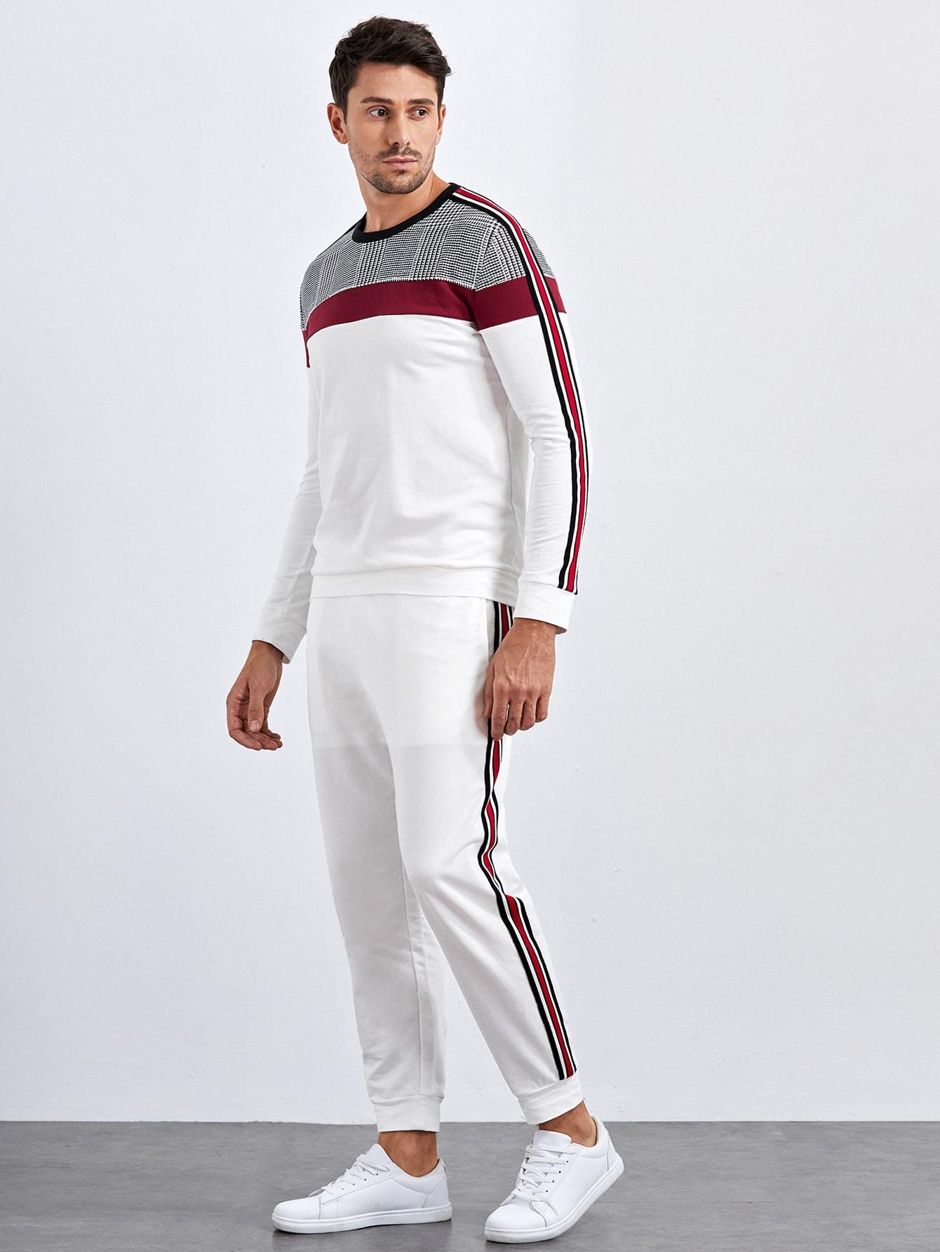 men striped tape side plaid yoke pullover & sweatpants set