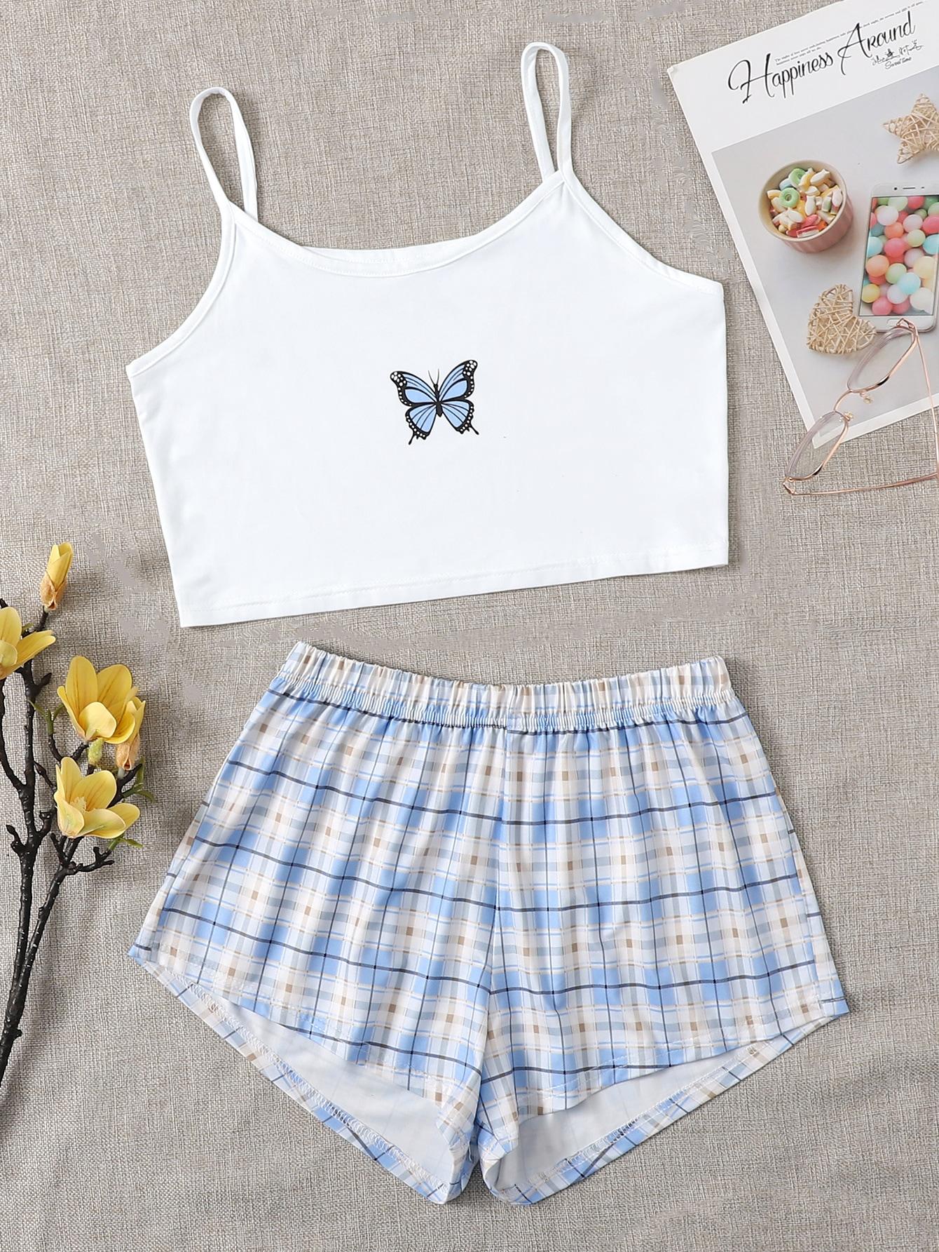 Butterfly And Plaid Print Pajama Set thumbnail