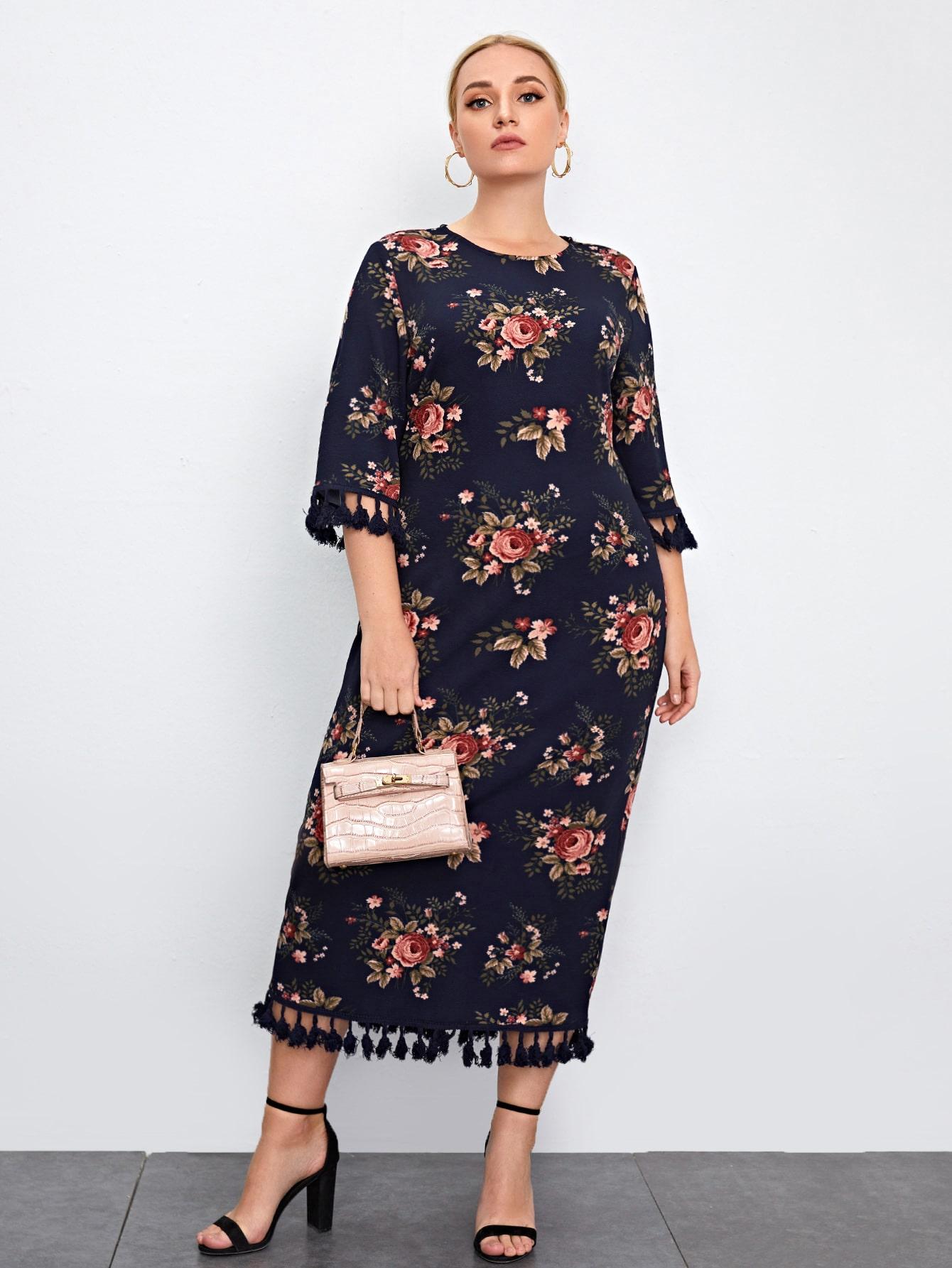 Plus Allover Floral Print Tassel Trim Split Hem Dress thumbnail