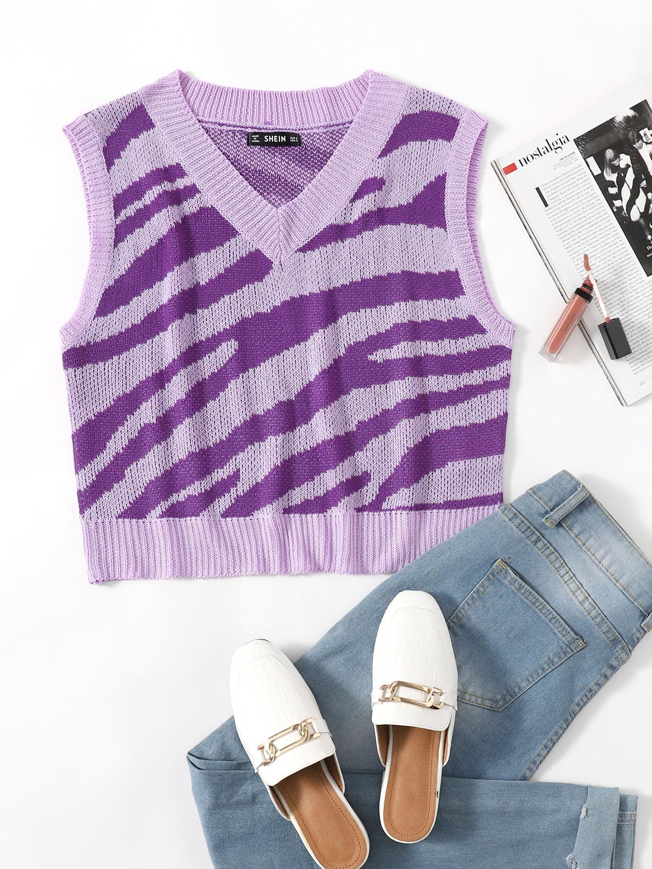 Zebra Striped Pattern Sweater Vest thumbnail