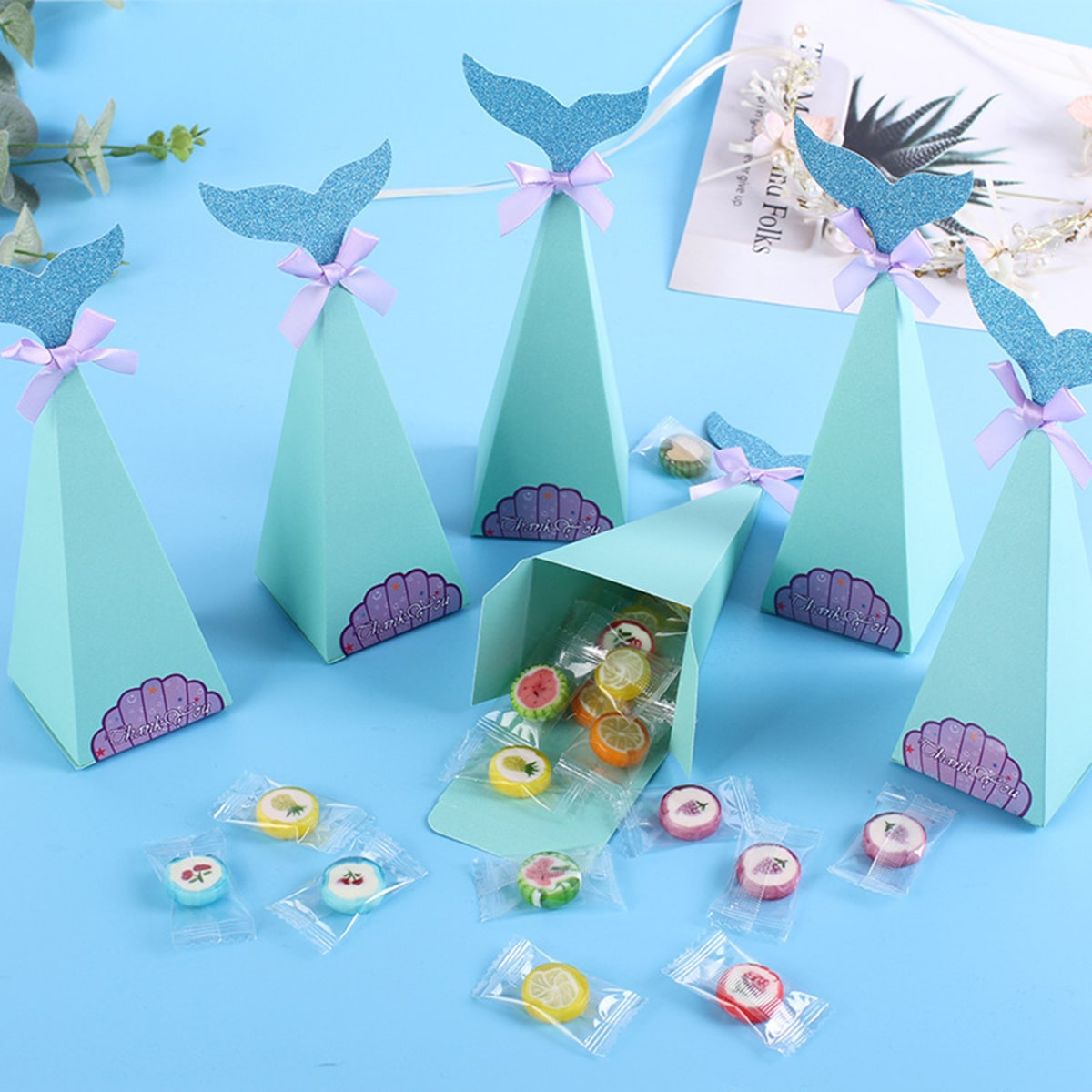 10pcs Mermaid Tail Candy Box