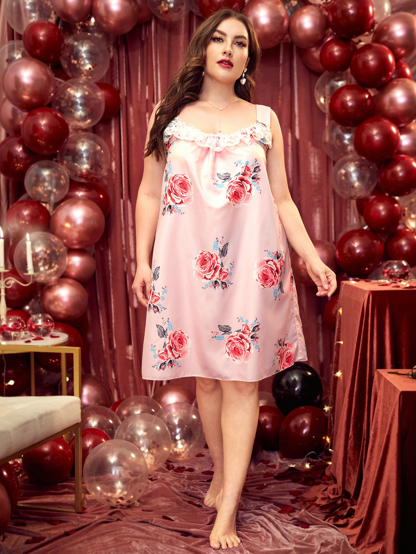 Plus Contrast Lace Floral Print Satin Night Dress