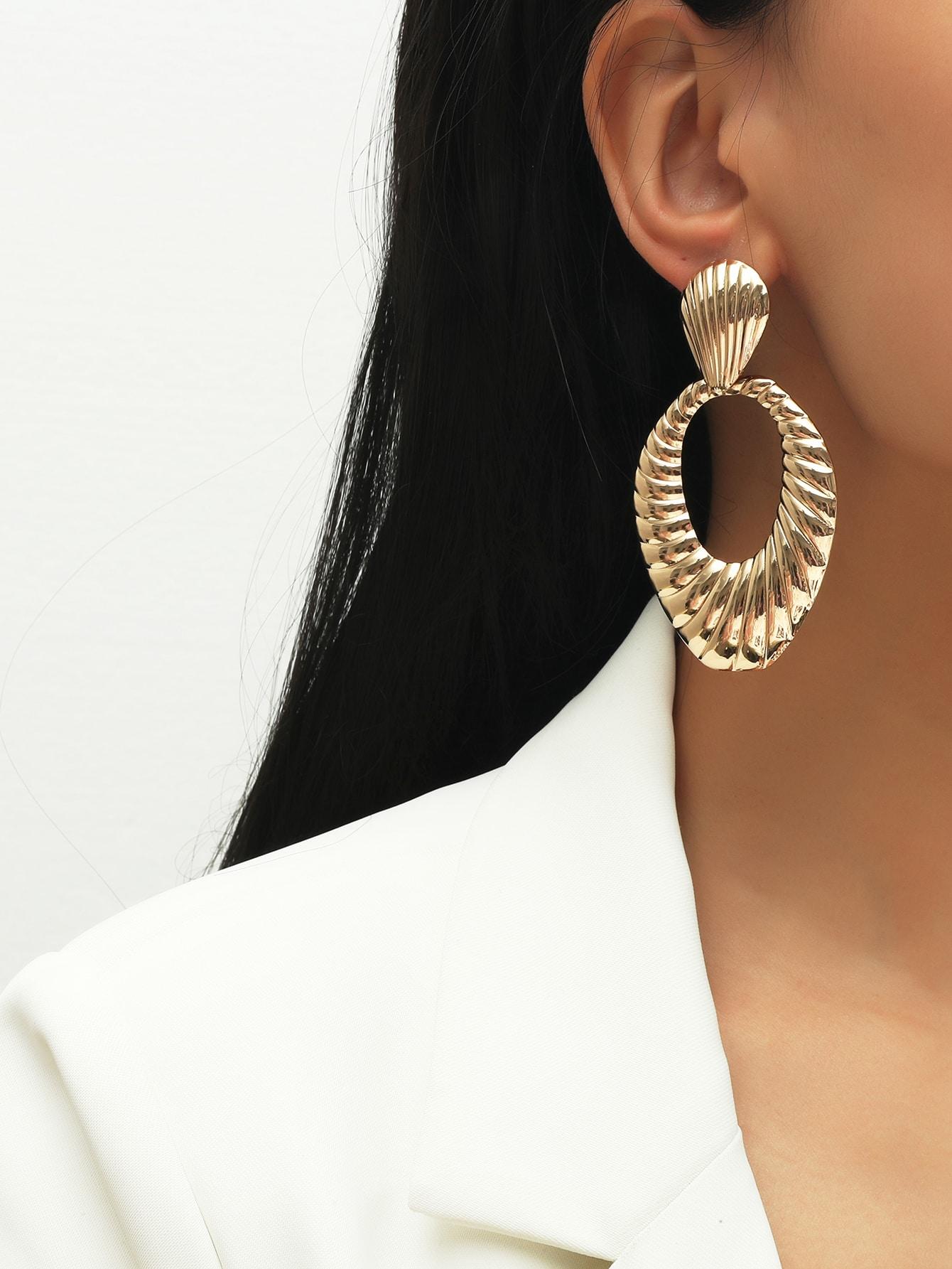 Textured Geo Drop Earrings thumbnail