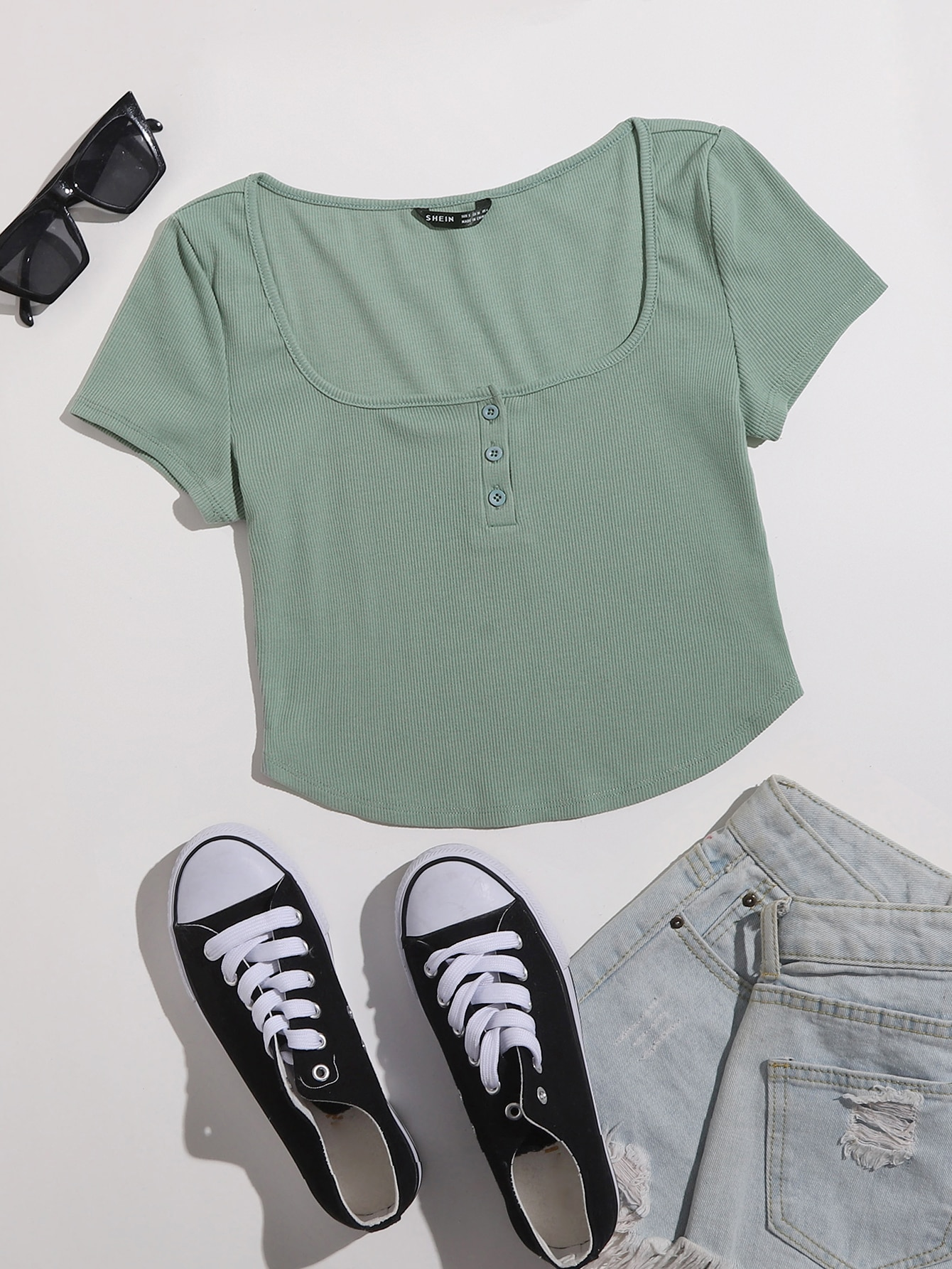 Ribbed Buttoned Curved Crop Top thumbnail
