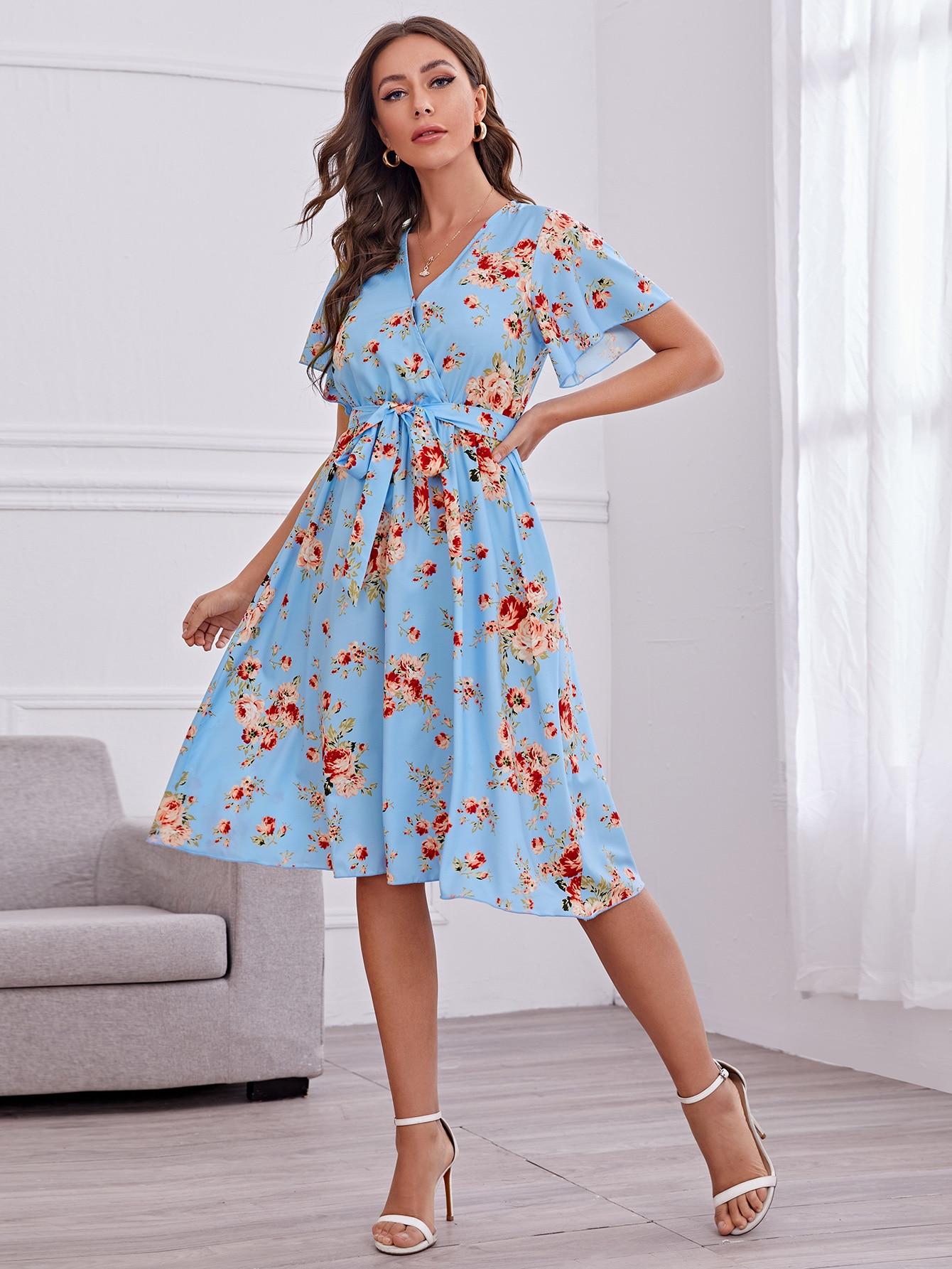 Surplice Neck Flutter Sleeve Self Belted Dress thumbnail