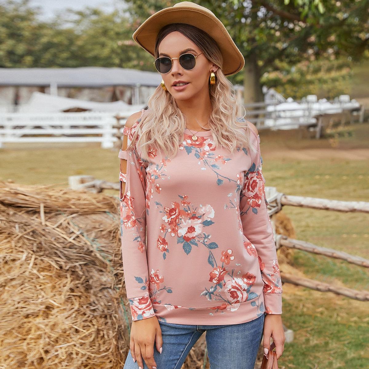 SHEIN / Ladder Cut Out Raglan Sleeve Floral Sweatshirt