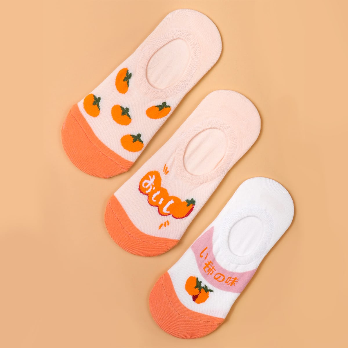 3pairs Fruit Print Ankle Socks, SHEIN  - buy with discount