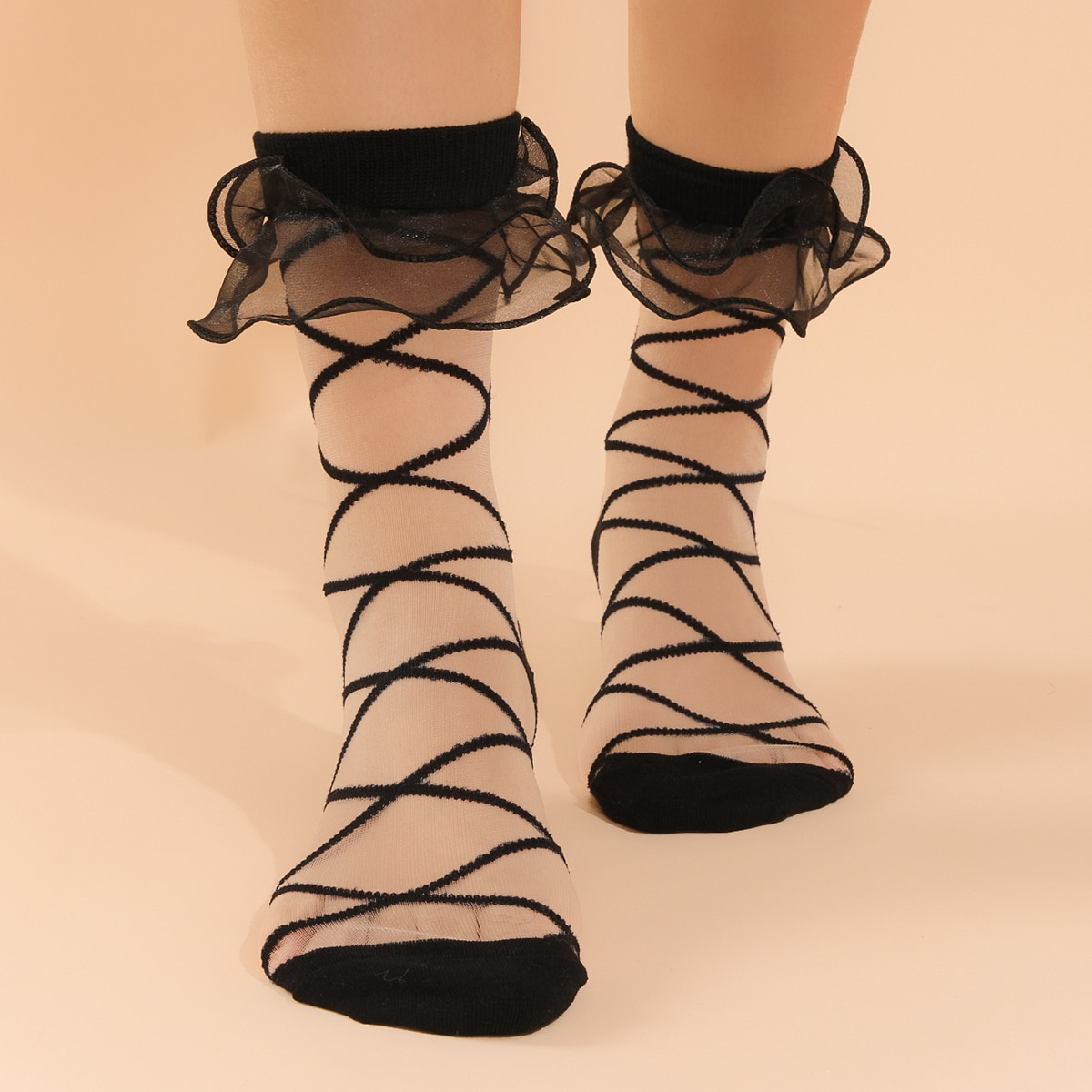 Ruffle Hem Crew Socks, SHEIN  - buy with discount