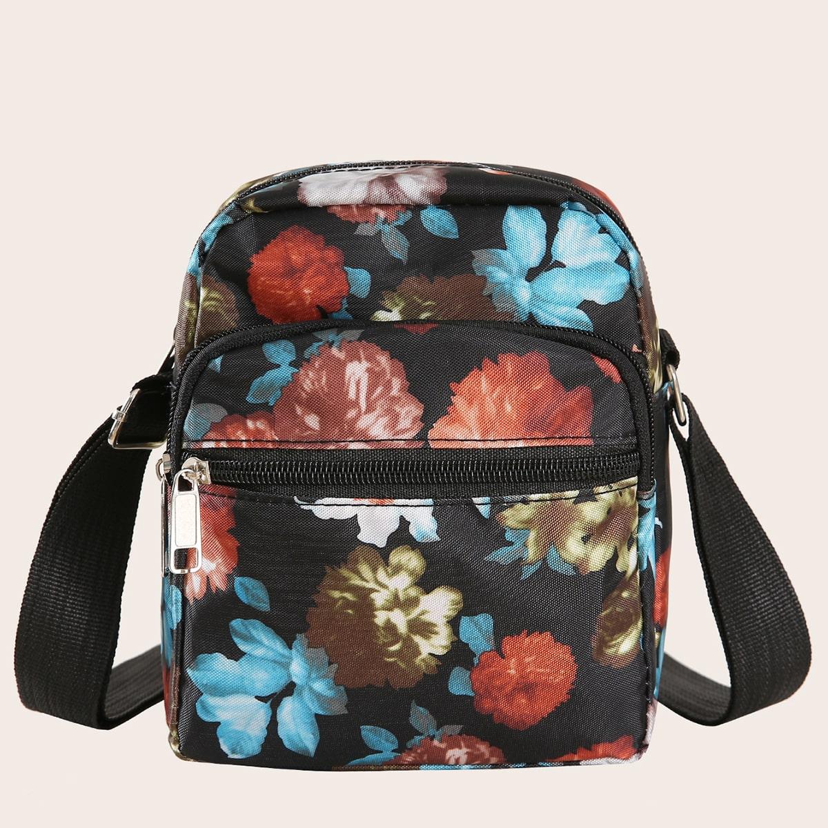 Сумка через плечо с цветочным принтом