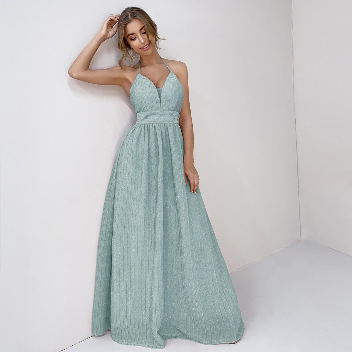 Платье на бретельках с молнией сзади и открытой спиной
