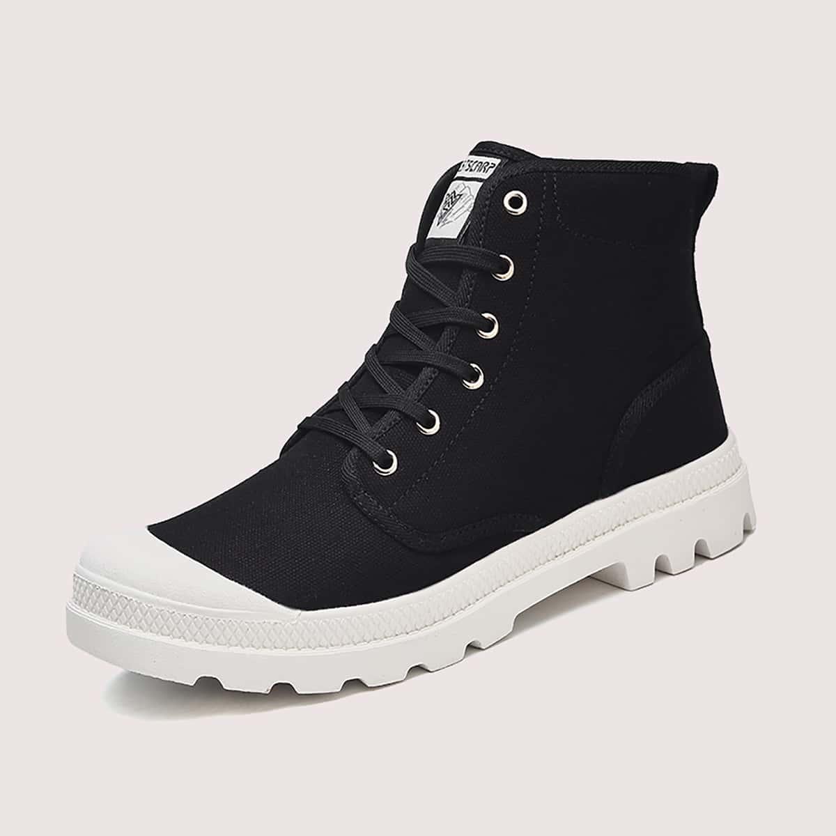 Мужские холщовые ботинки на шнурках